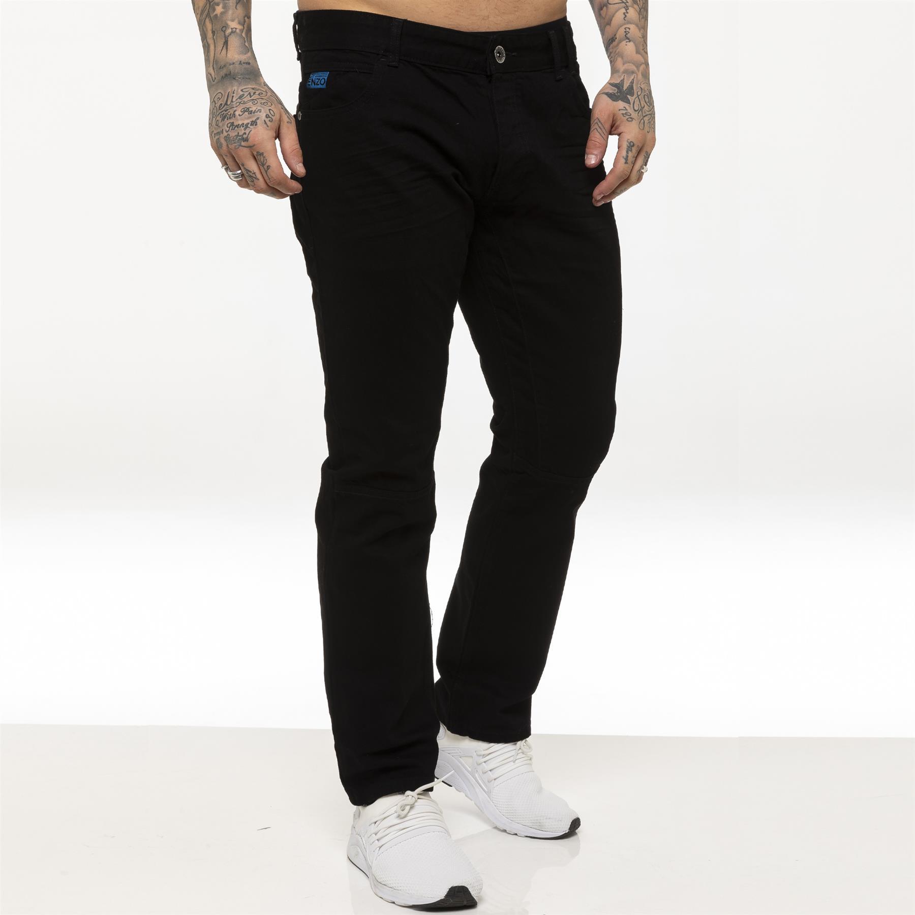 miniature 4 - Enzo pour homme coupe droite regular leg homme travail Denim Pantalon Toutes Tailles Tailles