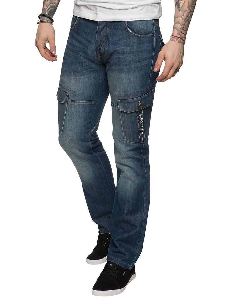 New-Enzo-Mens-Combat-Jeans-Cargo-Denim-Pants-Straight-Leg-Trousers-All-Waist thumbnail 17