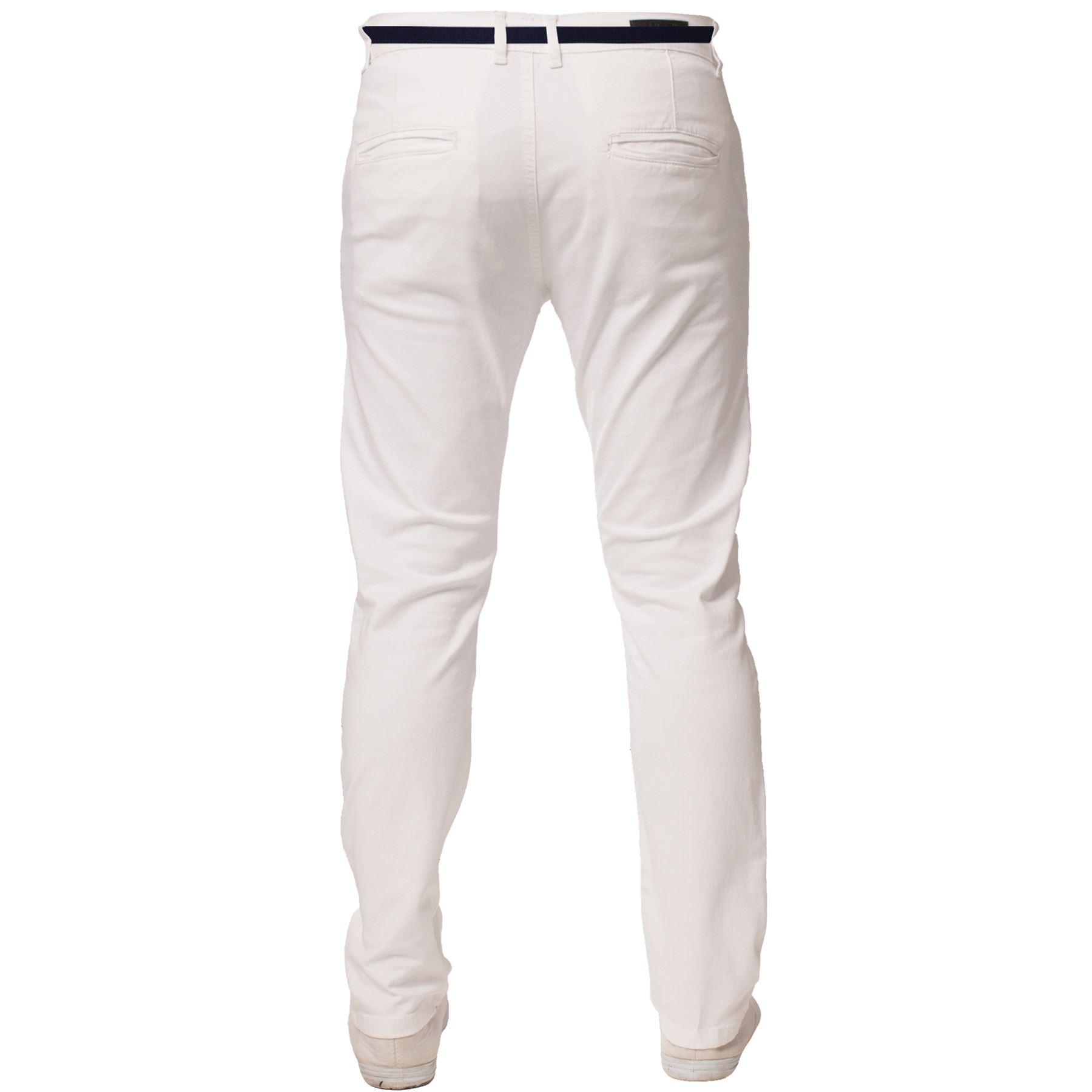 ENZO-Para-Hombres-Pantalones-Slim-Fit-Algodon-Elastico-Pantalones-Chinos-Con-Cinturon-BIG-amp-TALL miniatura 17