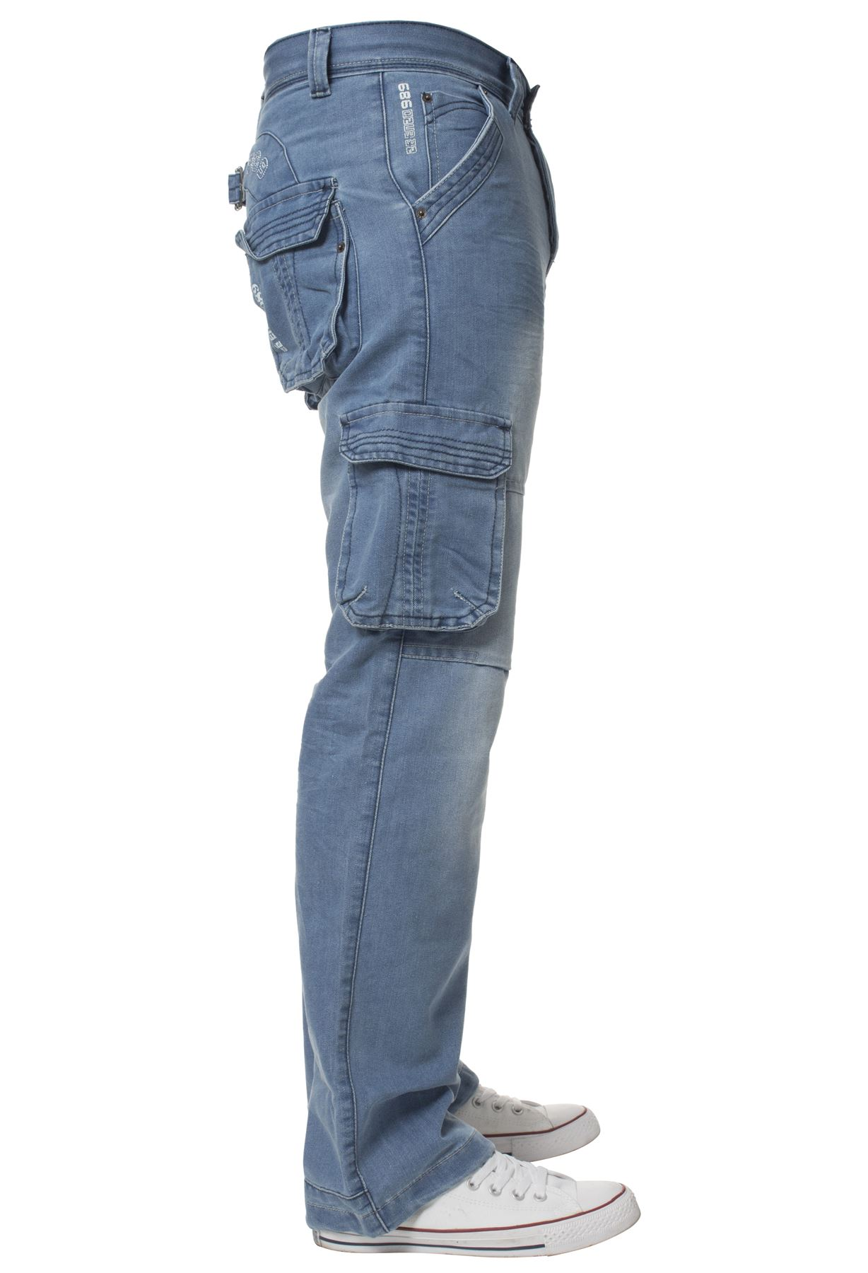 Enzo-Mens-Cargo-Combat-Trousers-Jeans-Work-Casual-Denim-Pants-Big-Tall-All-Waist thumbnail 16
