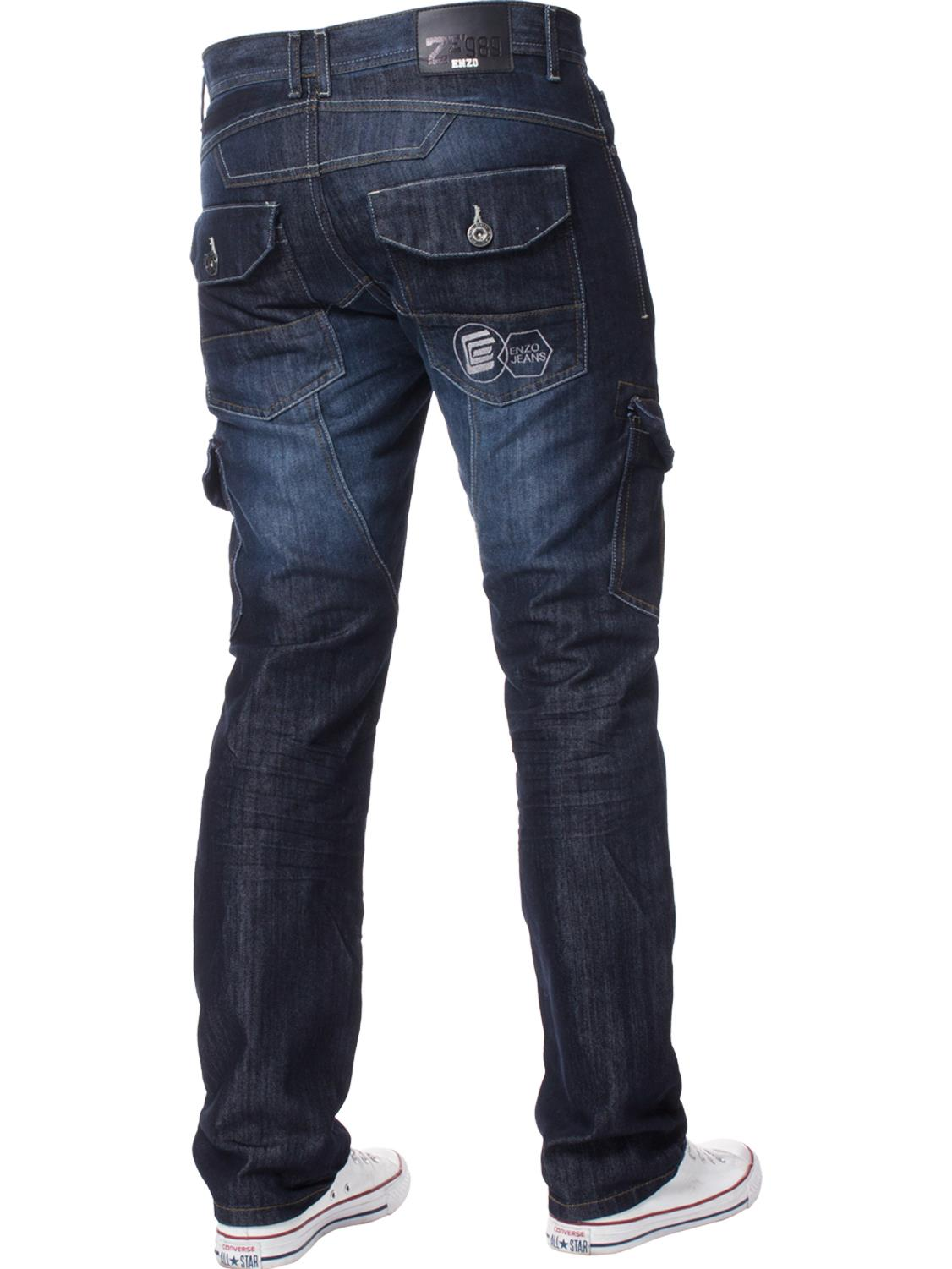 Enzo-Mens-Jeans-Big-Tall-Leg-King-Size-Denim-Pants-Chino-Trousers-Waist-44-034-60-034 miniature 78
