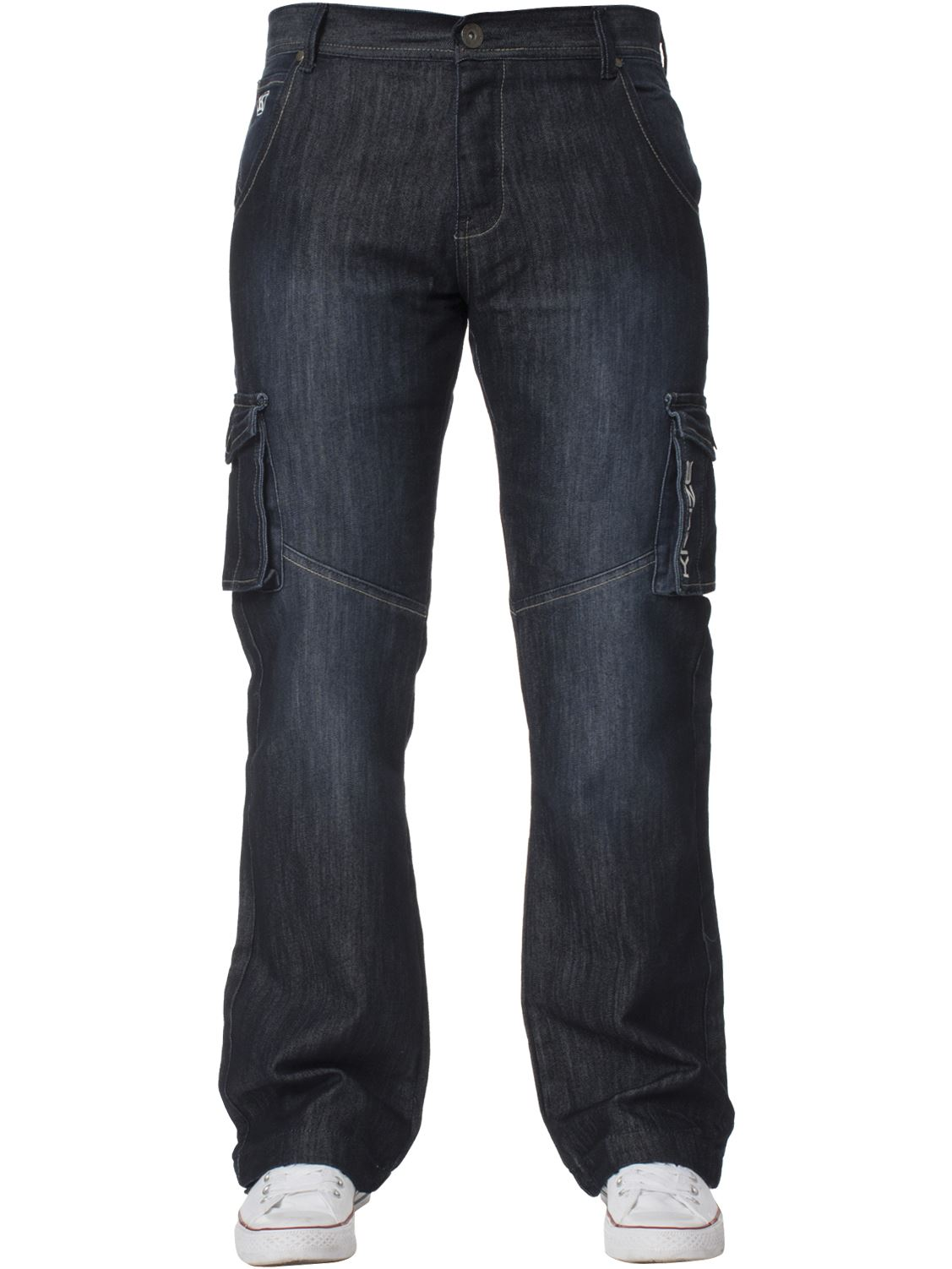Grandes-jeans-para-hombre-de-combate-de-Kruze-Rey-Alto-Pierna-Cargo-Pantalones-Jeans-Pantalones miniatura 11