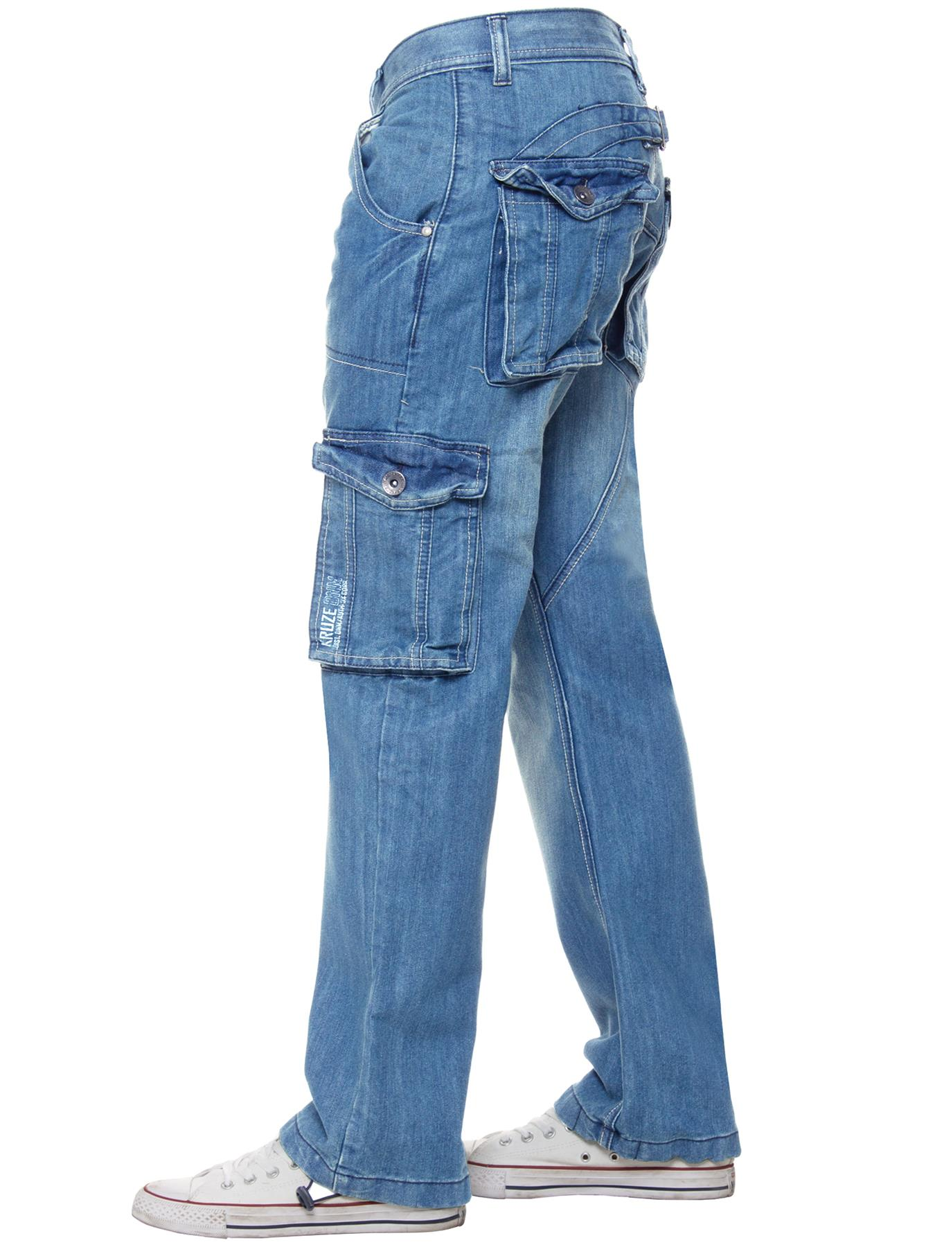 Kruze-Mens-Cargo-Combat-Jeans-Casual-Work-Denim-Pants-Big-Tall-All-Waist-Sizes thumbnail 48