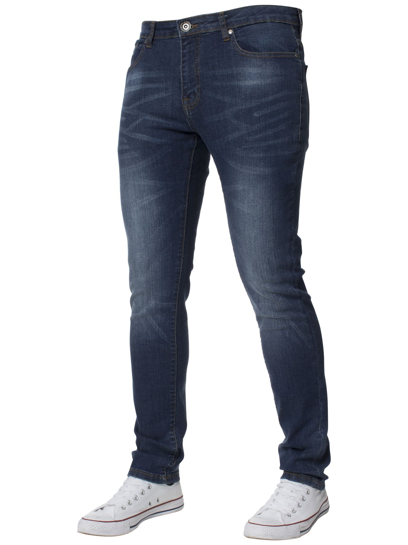 Mens-Skinny-Stretch-Jeans-Slim-Fit-Flex-Denim-Trousers-Pants-King-Sizes-by-Kruze thumbnail 9