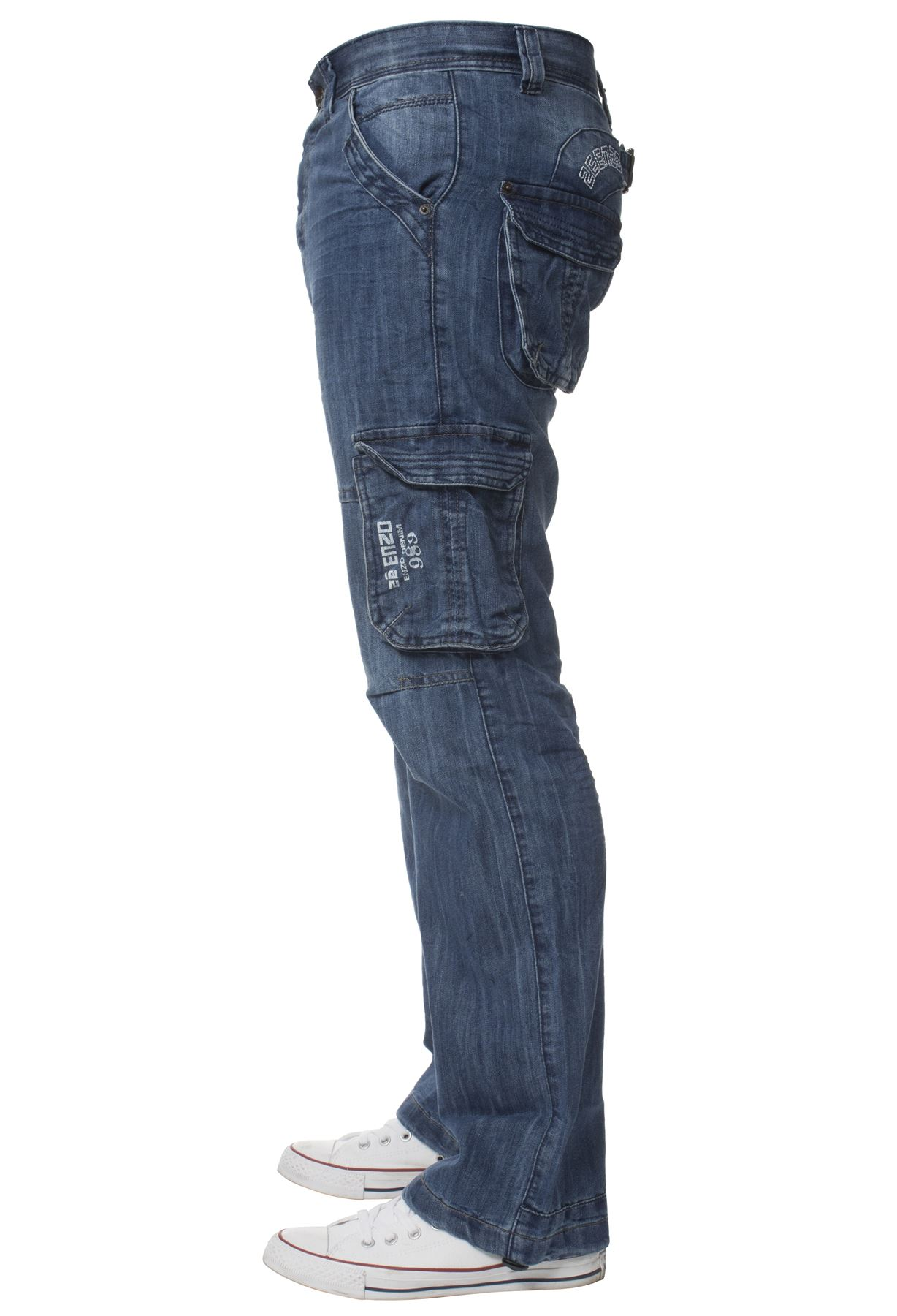 Enzo-Mens-Cargo-Combat-Trousers-Jeans-Work-Casual-Denim-Pants-Big-Tall-All-Waist thumbnail 10