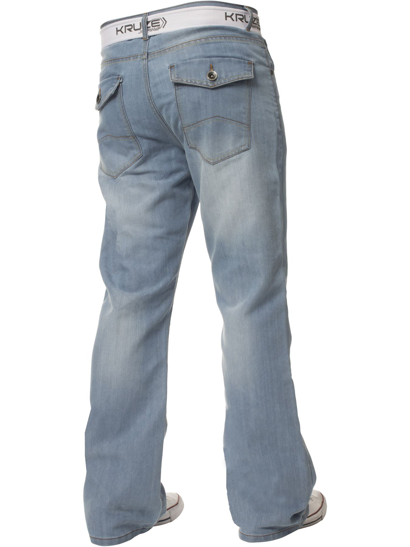 Kruze-Denim-New-Mens-Bootcut-Jeans-Wide-Leg-Flare-Pants-King-Big-All-Waist-Sizes thumbnail 17