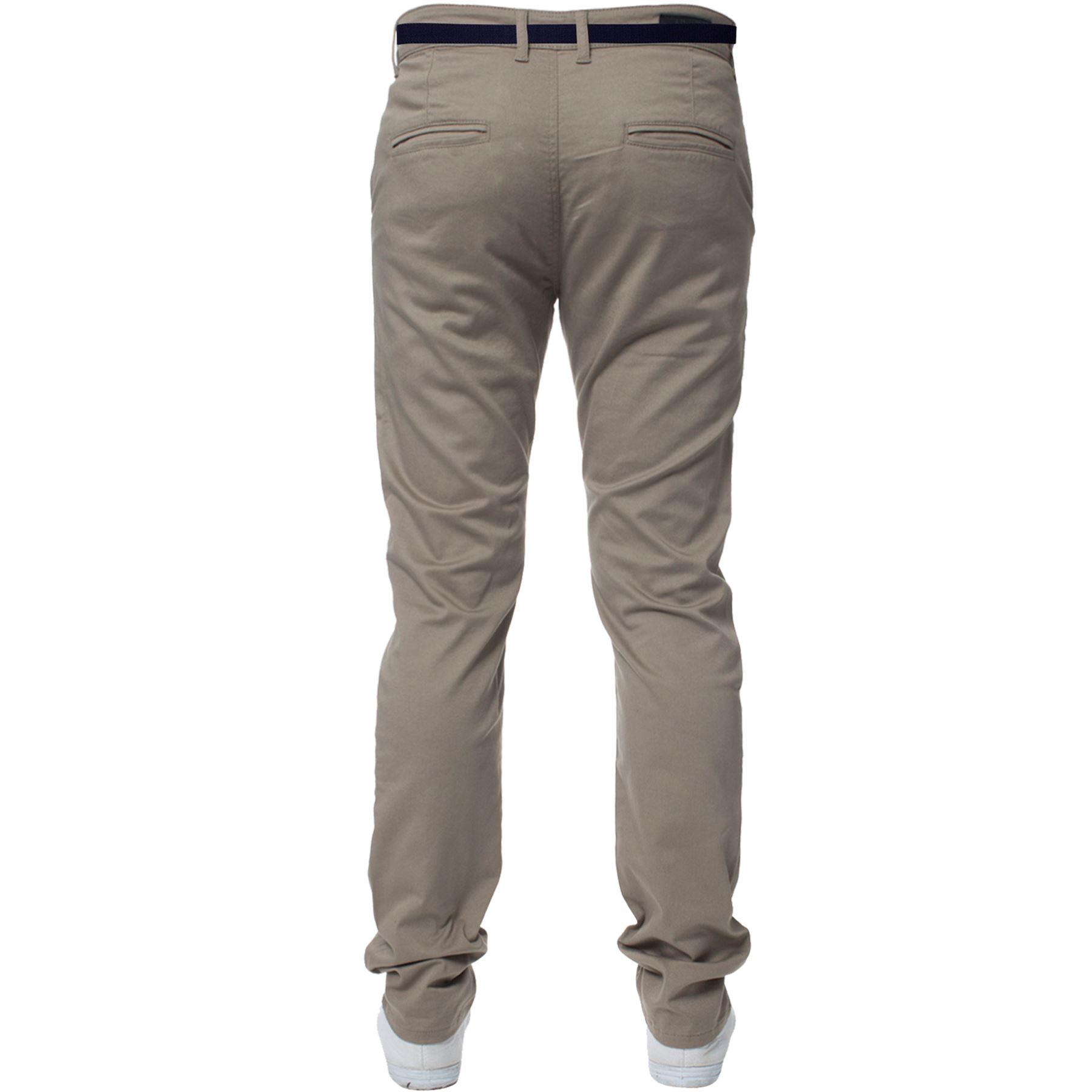ENZO-Para-Hombres-Pantalones-Slim-Fit-Algodon-Elastico-Pantalones-Chinos-Con-Cinturon-BIG-amp-TALL miniatura 3