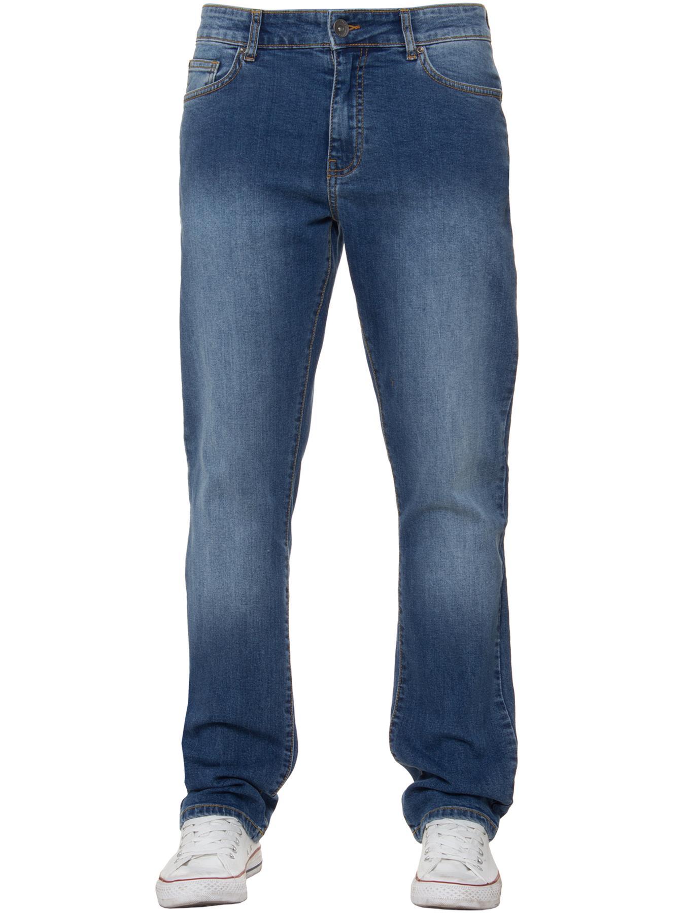 Para-Hombre-Pierna-Recta-Bootcut-Stretch-Denim-Regulares-Pantalon-de-trabajo-Kruze-Todas-Cinturas miniatura 12