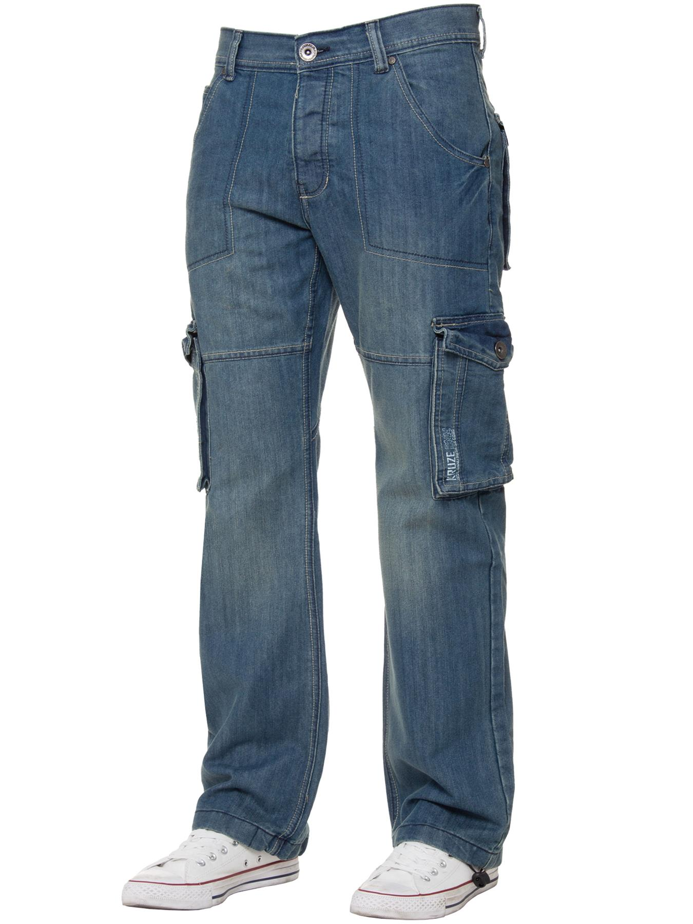 Kruze-Mens-Cargo-Combat-Jeans-Casual-Work-Denim-Pants-Big-Tall-All-Waist-Sizes thumbnail 10