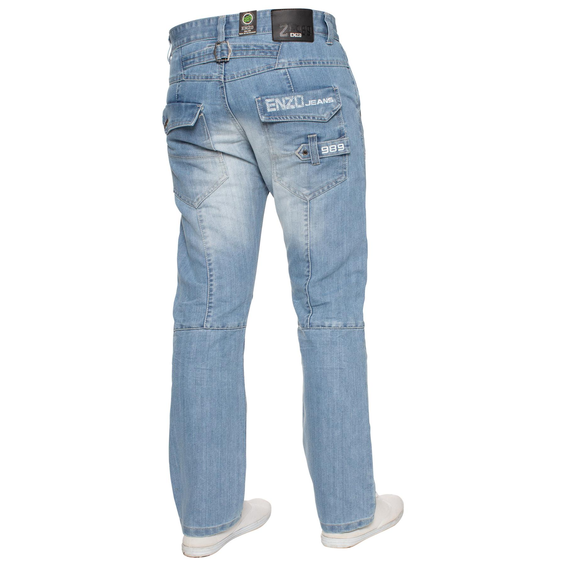 Enzo-Mens-Jeans-Big-Tall-Leg-King-Size-Denim-Pants-Chino-Trousers-Waist-44-034-60-034 miniature 51