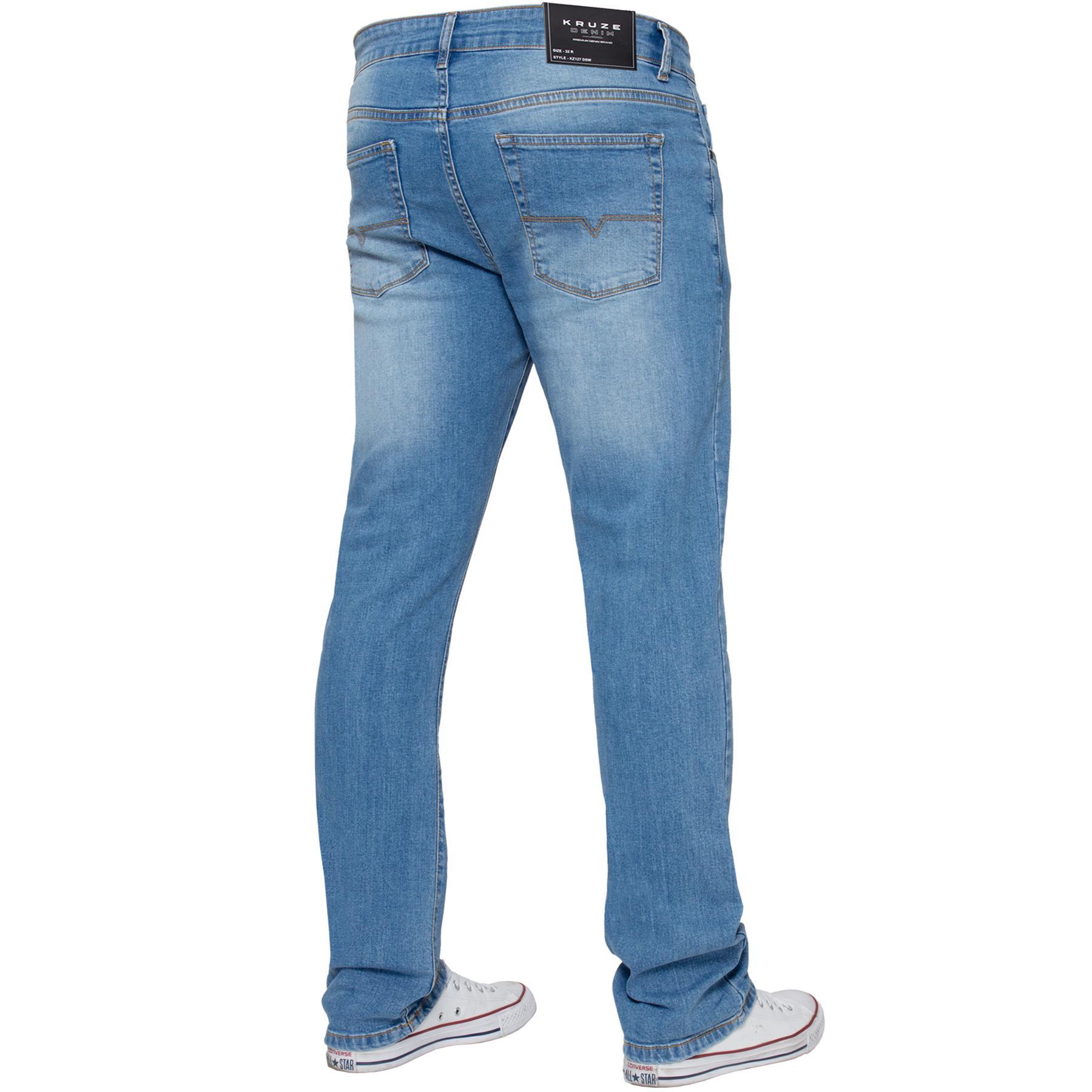 Para-Hombre-Pierna-Recta-Bootcut-Stretch-Denim-Regulares-Pantalon-de-trabajo-Kruze-Todas-Cinturas miniatura 34