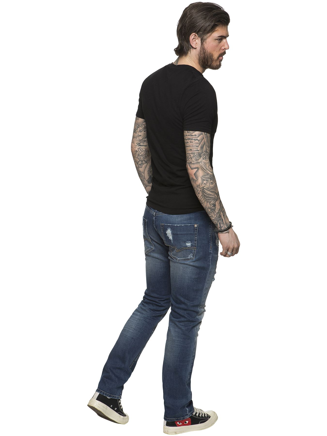 ETO-Designer-Mens-Ripped-Blue-Jeans-Distressed-Denim-Tapered-Fit-Trousers-Pants thumbnail 4