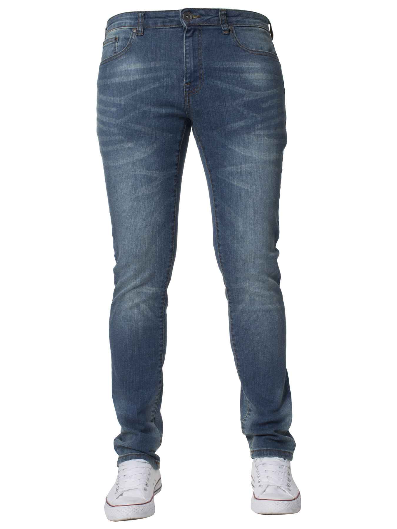 Mens-Skinny-Stretch-Jeans-Slim-Fit-Flex-Denim-Trousers-Pants-King-Sizes-by-Kruze thumbnail 22