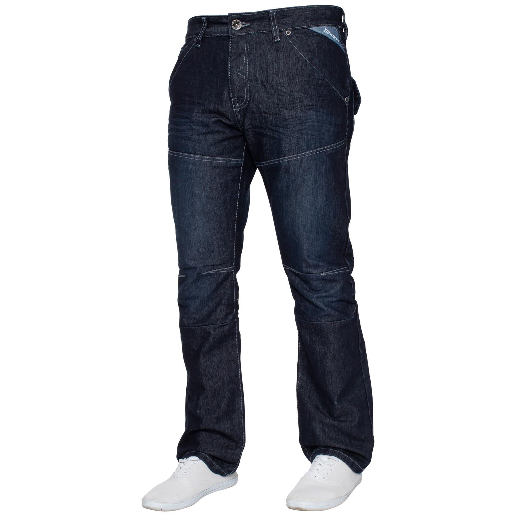 Enzo-Mens-Big-Tall-Jeans-Leg-King-Size-Denim-Pants-Chino-Trousers-Pants-44-034-60-034 thumbnail 71