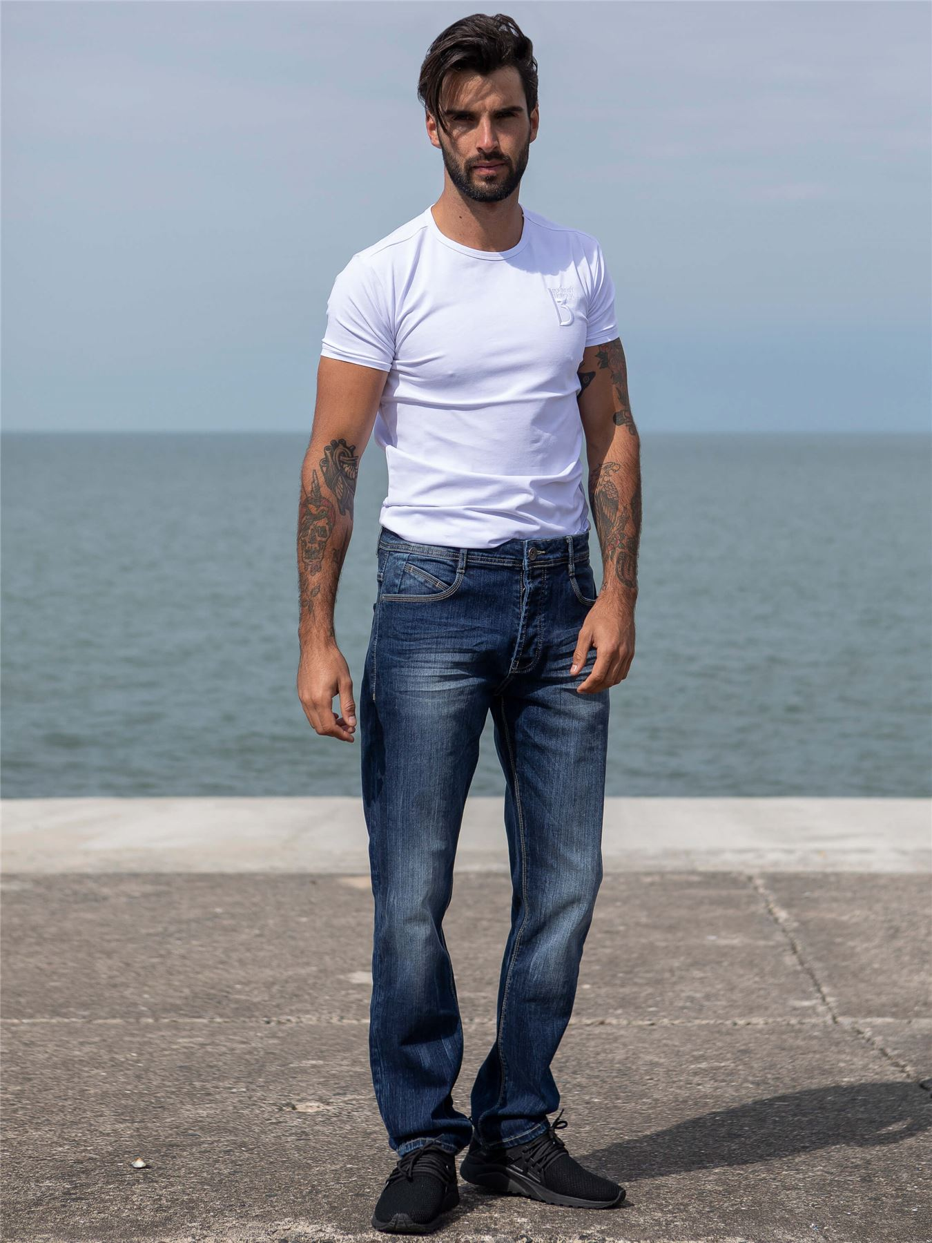 Eto-Designer-Mens-Tapered-Jeans-Slim-Fit-Stretch-Denim-Trouser-Pants-All-Waists thumbnail 11