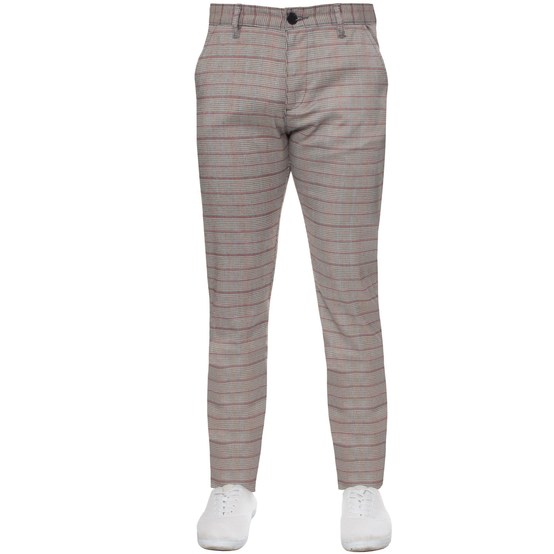Para-Hombre-a-Cuadros-Pantalones-Slim-Fit-Smart-Casual-Elastico-Suave-Oficina-de-Trabajo-Pantalones miniatura 10