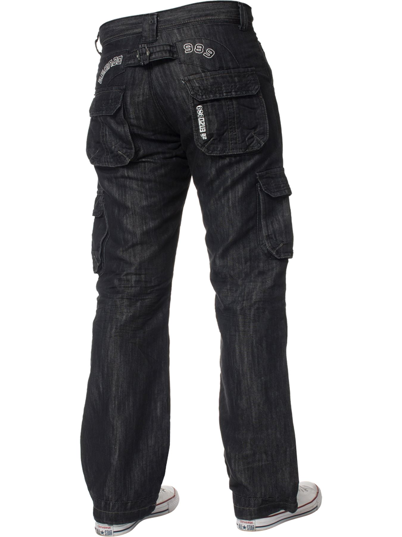 Enzo-Mens-Cargo-Combat-Trousers-Jeans-Work-Casual-Denim-Pants-Big-Tall-All-Waist thumbnail 4
