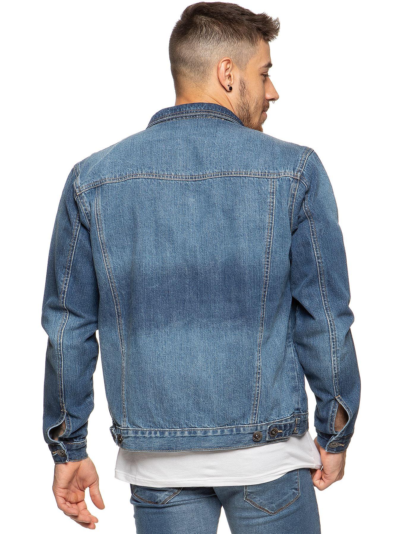 Enzo-Mens-Denim-Jacket-Classic-Western-Style-Designer-Trucker-Vintage-Style-Coat thumbnail 8
