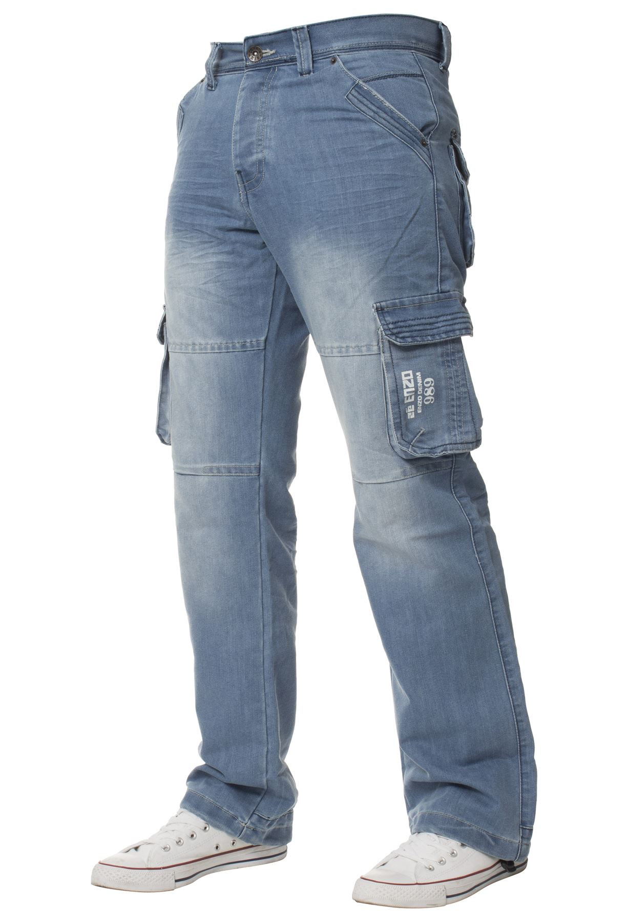 Enzo-Mens-Cargo-Combat-Trousers-Jeans-Work-Casual-Denim-Pants-Big-Tall-All-Waist thumbnail 13