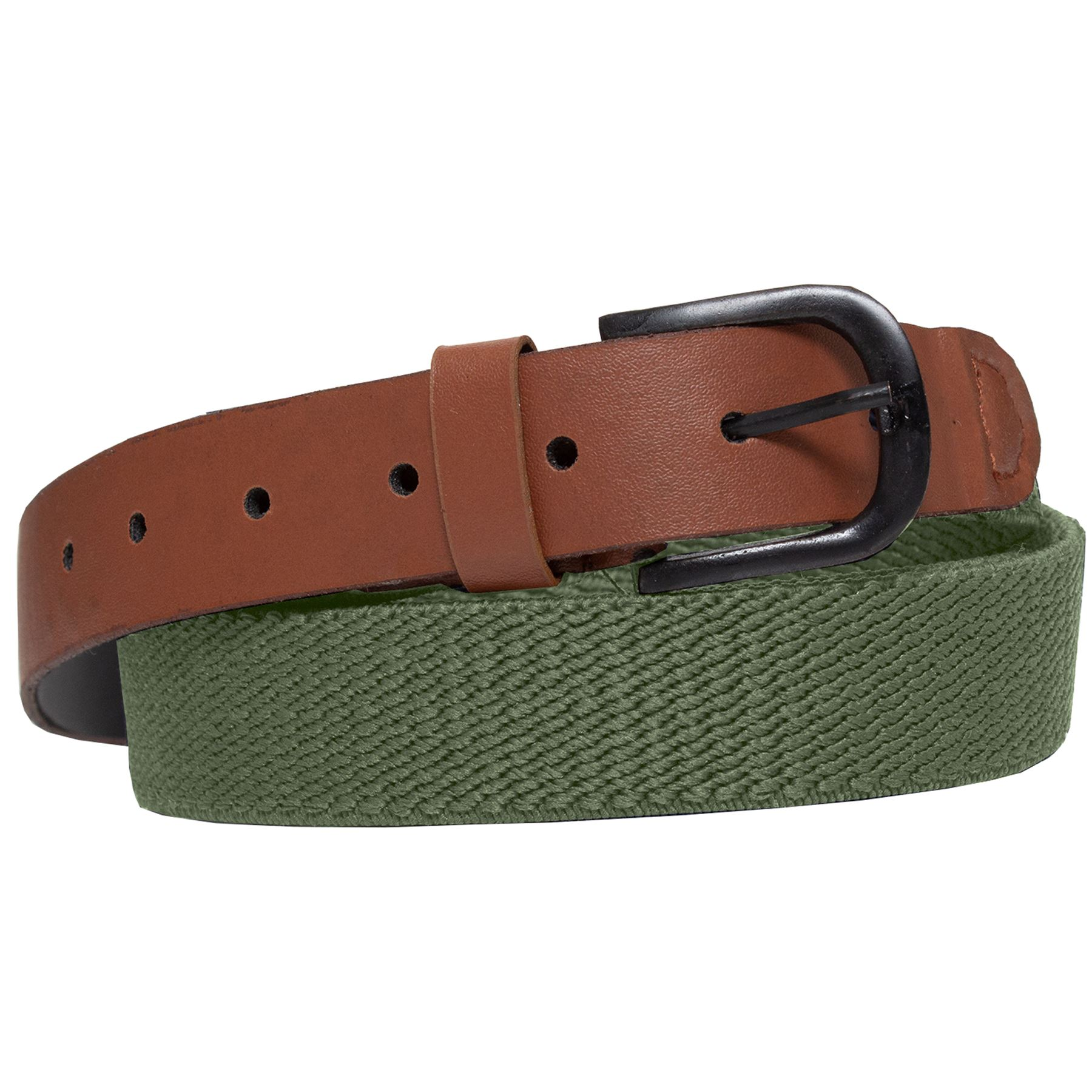 ENZO-Mens-Womens-Elasticated-Belts-Canvas-Stretch-PU-Leather-Trim-Braided-Belt Indexbild 14