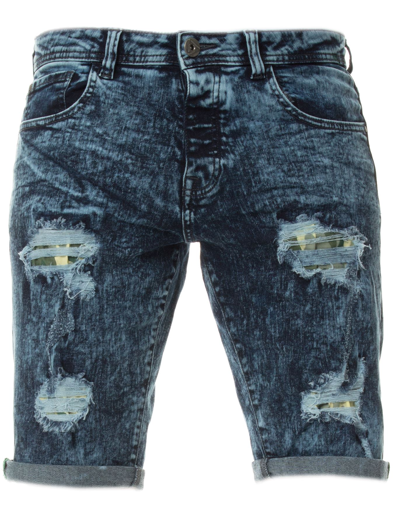 Mens-Denim-Shorts-ETO-Jeans-Stretch-Slim-Fit-Distressed-Ripped-Blue-Half-Pants thumbnail 4