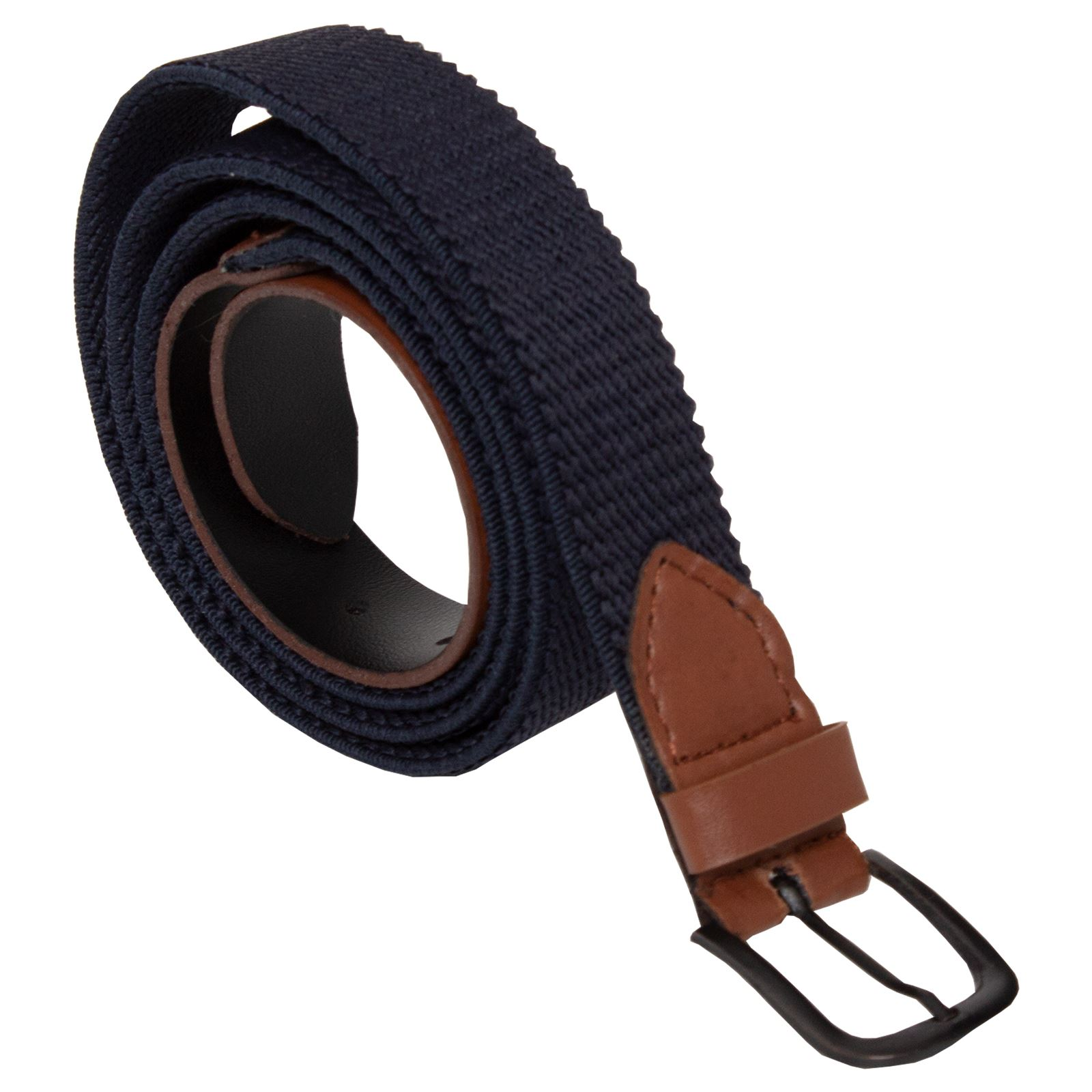 Mens-Ladies-Elasticated-Webbing-Belts-PU-Leather-Trim-Stretch-Canvas-Buckle-Belt Indexbild 4
