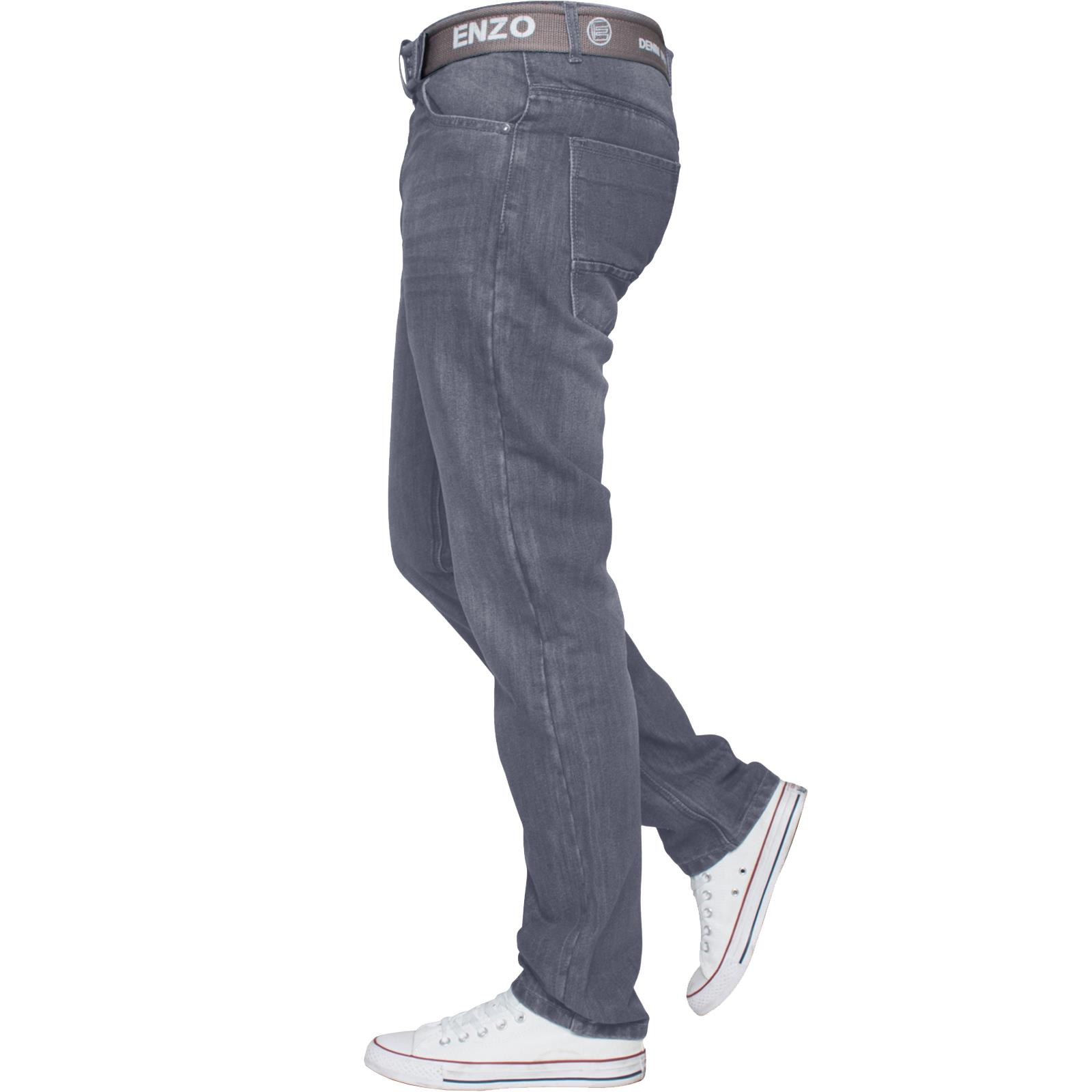 Enzo-Mens-Straight-Leg-Jeans-Regular-Fit-Denim-Pants-Big-Tall-All-Waists-Sizes thumbnail 13