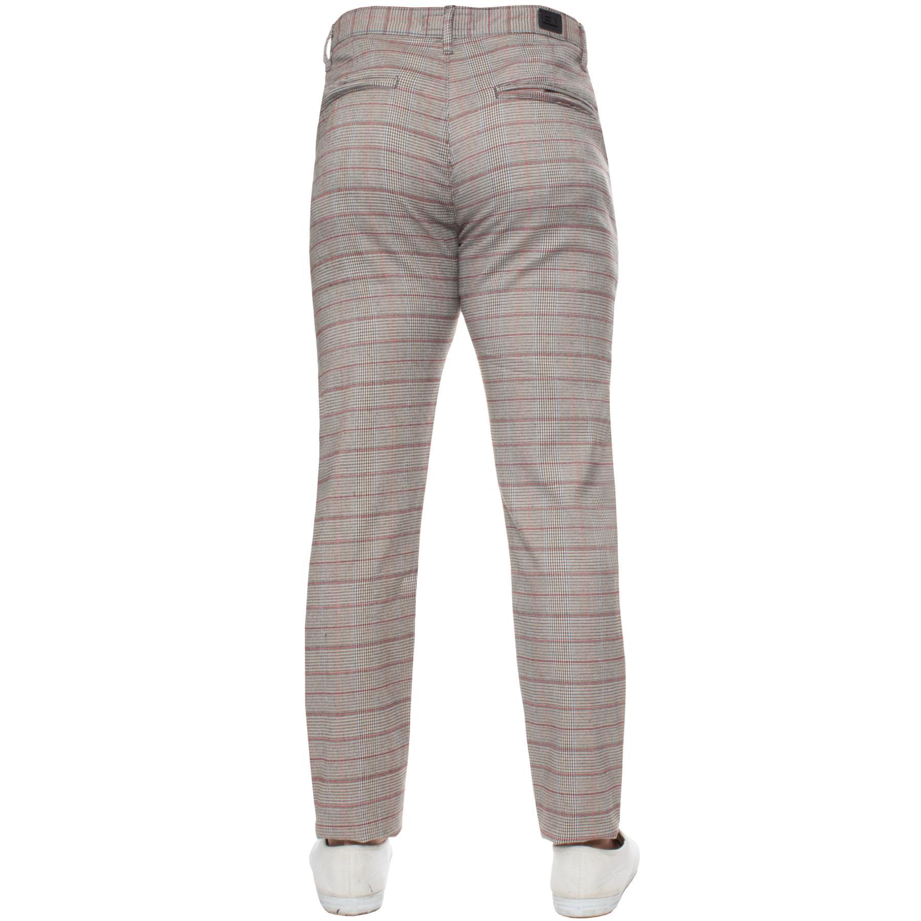 Para-Hombre-a-Cuadros-Pantalones-Slim-Fit-Smart-Casual-Elastico-Suave-Oficina-de-Trabajo-Pantalones miniatura 11
