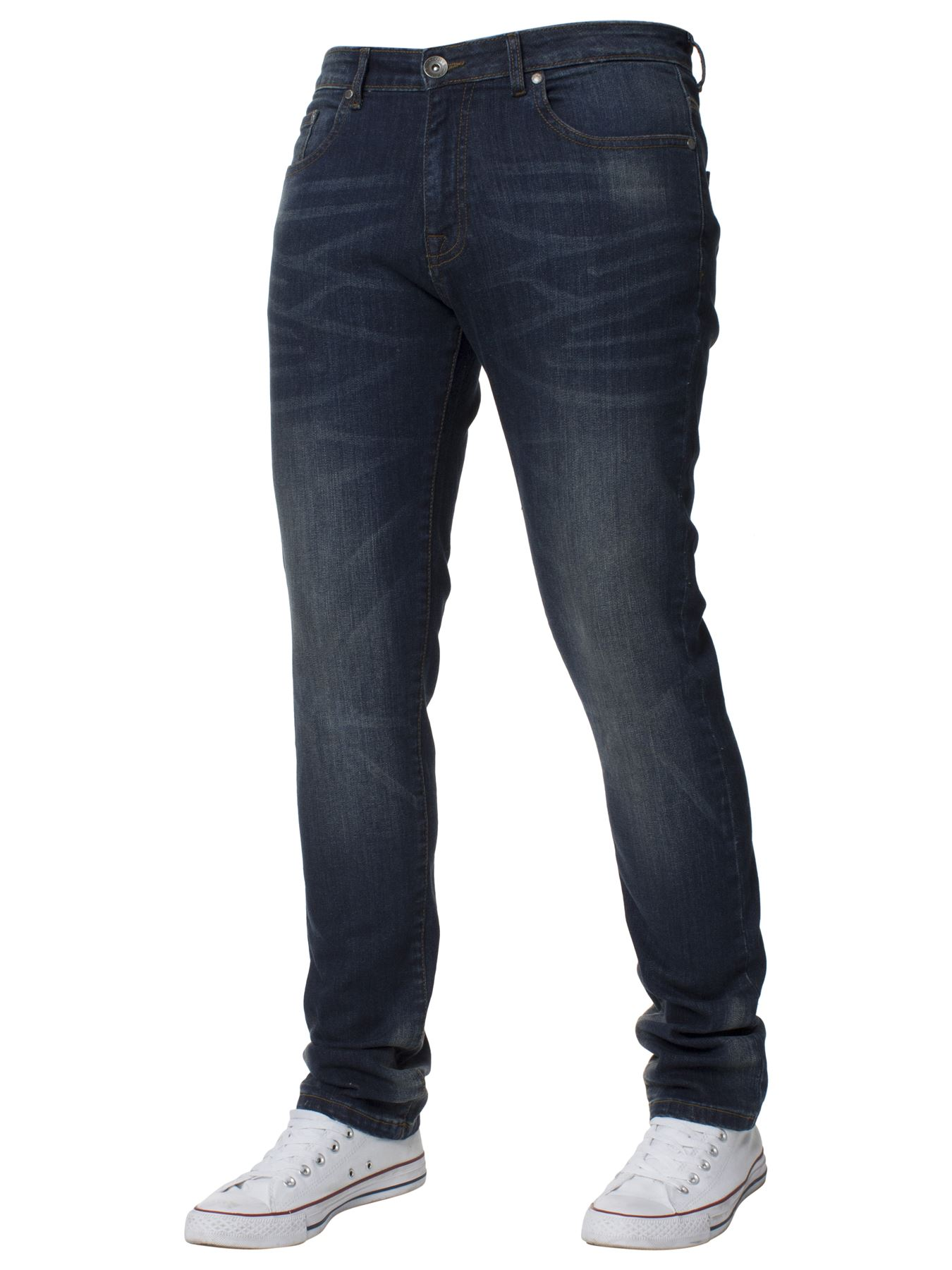 Mens-Skinny-Stretch-Jeans-Slim-Fit-Flex-Denim-Trousers-Pants-King-Sizes-by-Kruze thumbnail 15