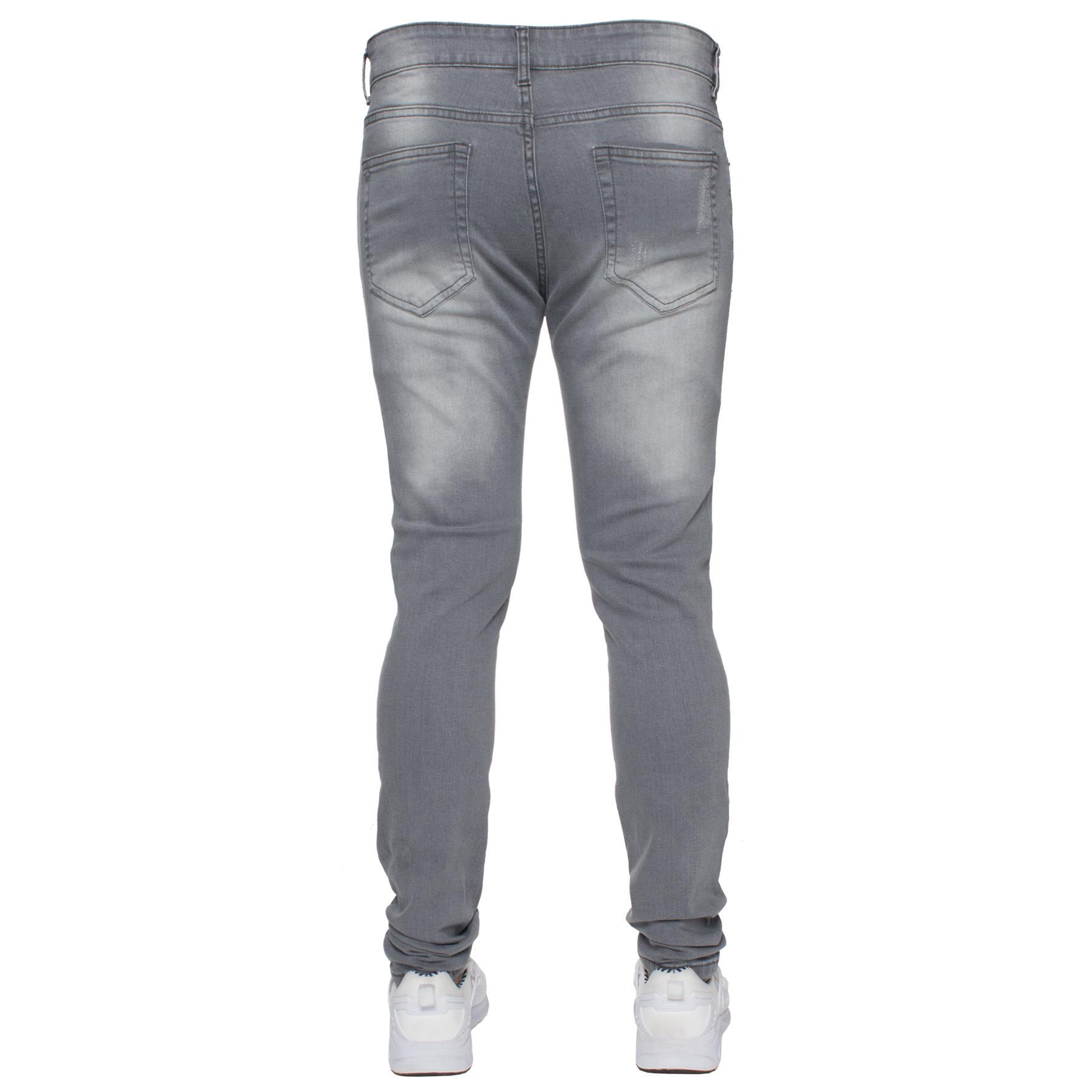 Para-hombre-Super-Skinny-Ripped-Jeans-Pantalones-Ajustados-desgastados-Denim-Envejecido-Todas miniatura 22