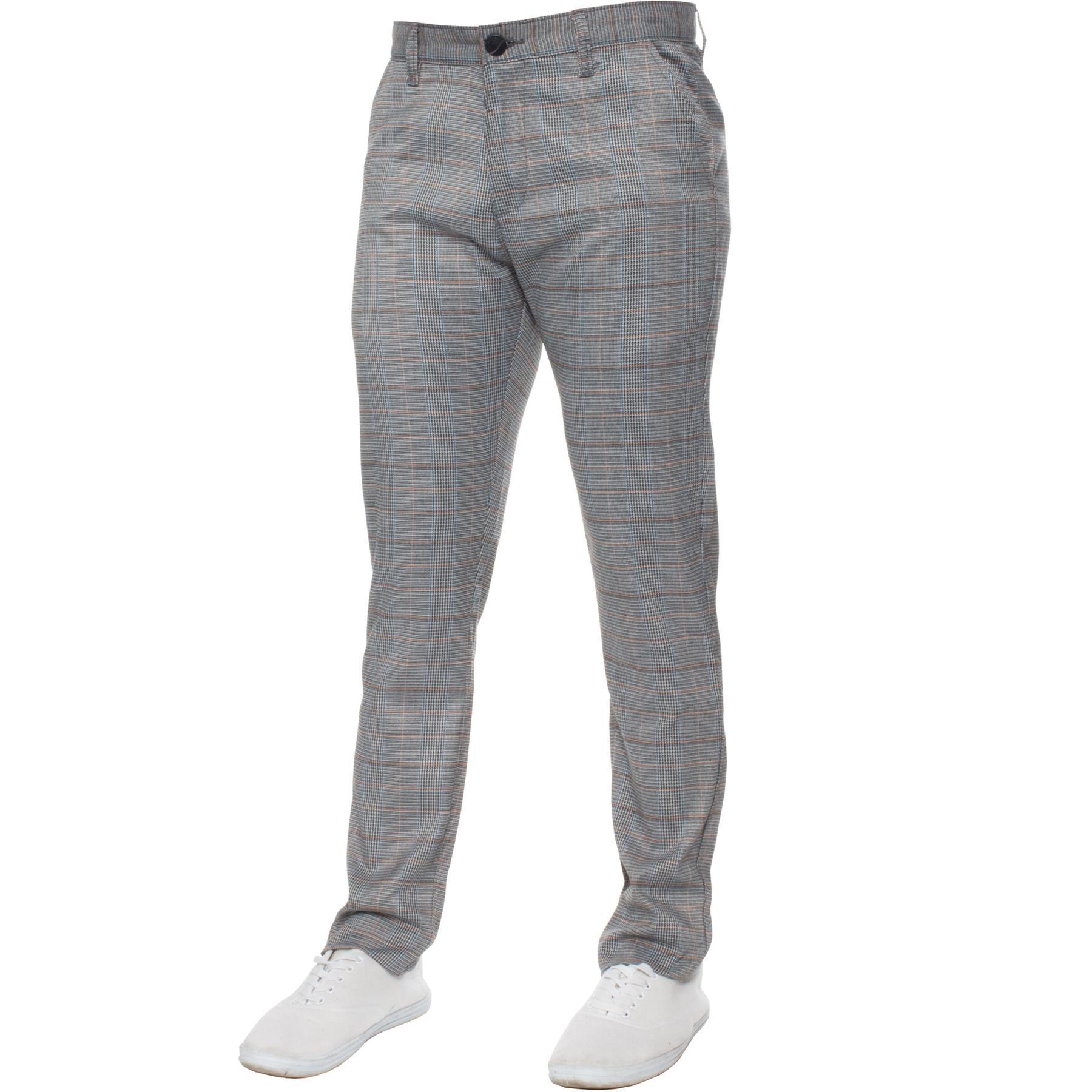 Para-Hombre-a-Cuadros-Pantalones-Slim-Fit-Smart-Casual-Elastico-Suave-Oficina-de-Trabajo-Pantalones miniatura 13