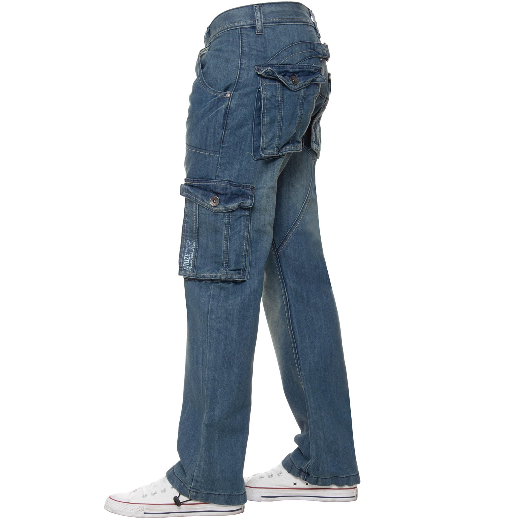 Kruze-Mens-Combat-Jeans-Casual-Cargo-Work-Denim-Trousers-Big-Tall-All-Waists thumbnail 4
