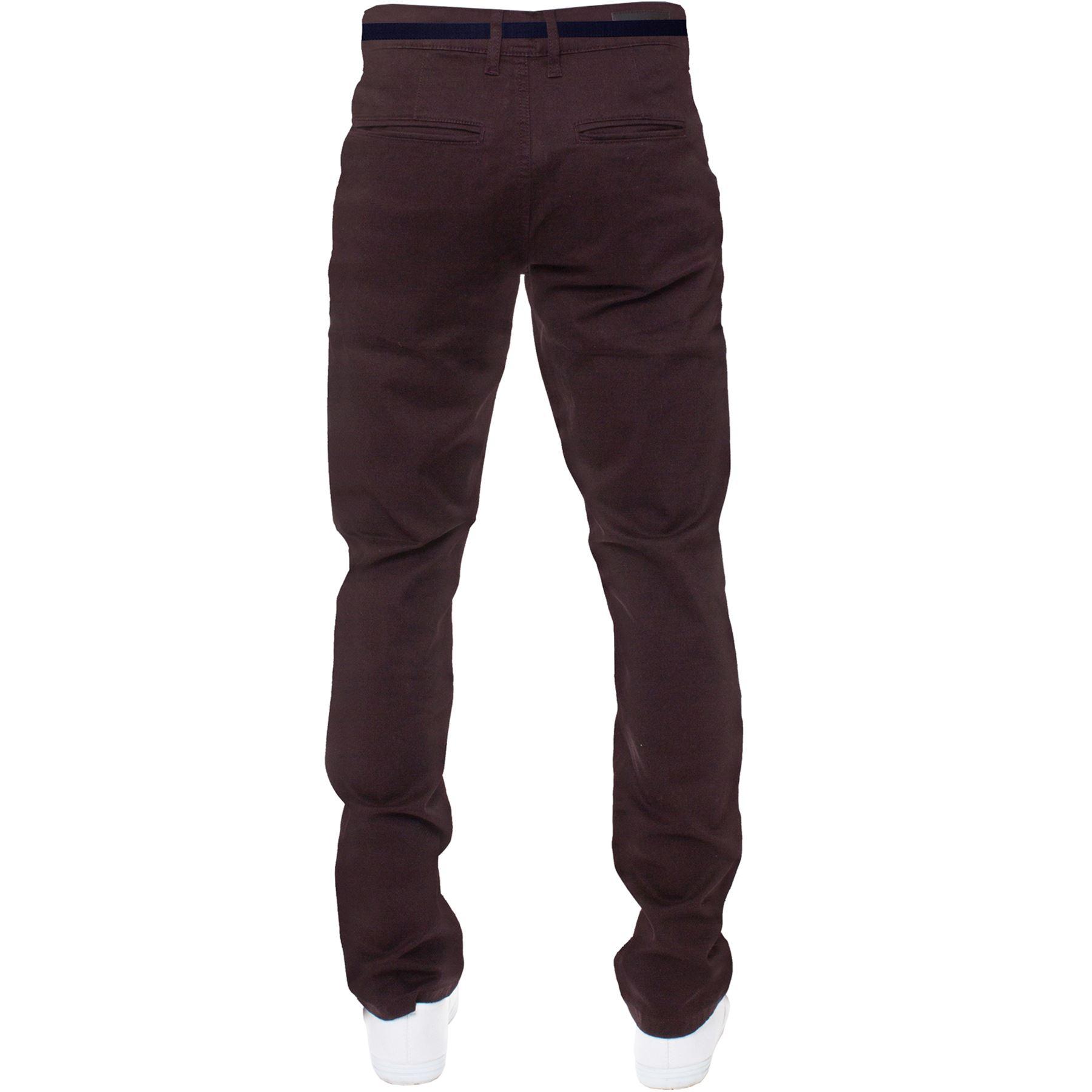 ENZO-Para-Hombres-Pantalones-Slim-Fit-Algodon-Elastico-Pantalones-Chinos-Con-Cinturon-BIG-amp-TALL miniatura 9