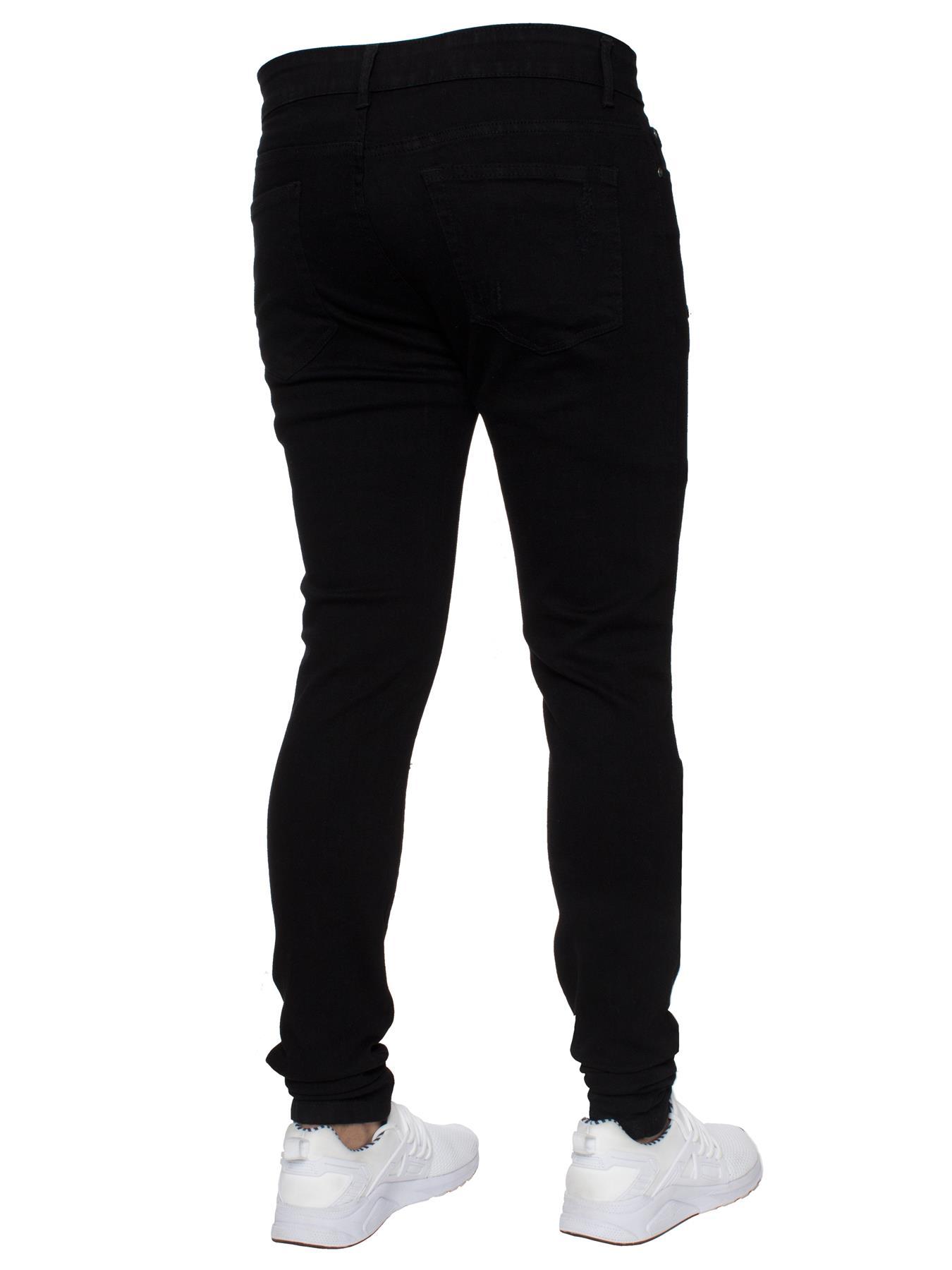 Para-hombre-Super-Skinny-Ripped-Jeans-Pantalones-Ajustados-desgastados-Denim-Envejecido-Todas miniatura 16