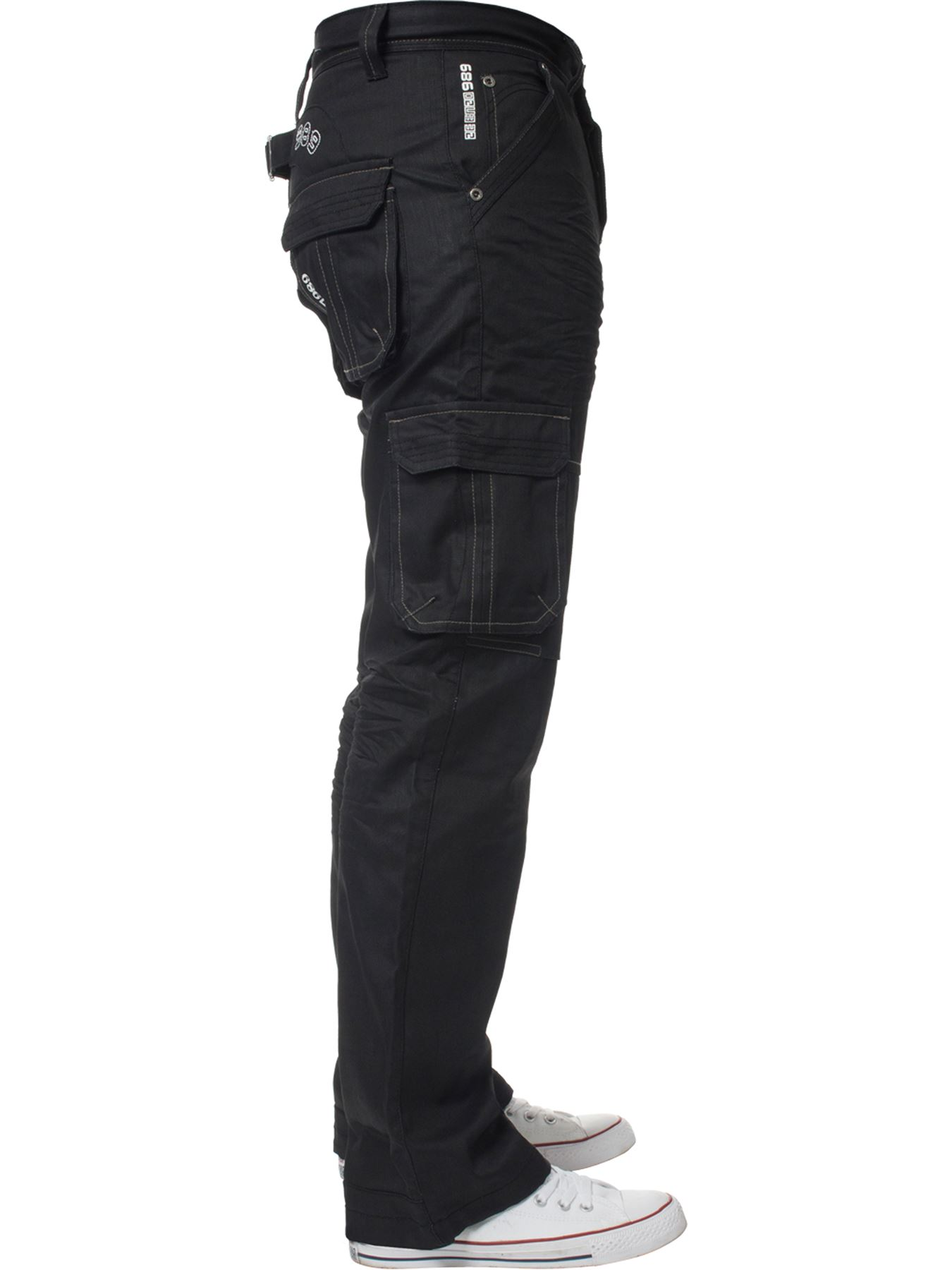 Enzo-Mens-Cargo-Combat-Trousers-Jeans-Work-Casual-Denim-Pants-Big-Tall-All-Waist thumbnail 21