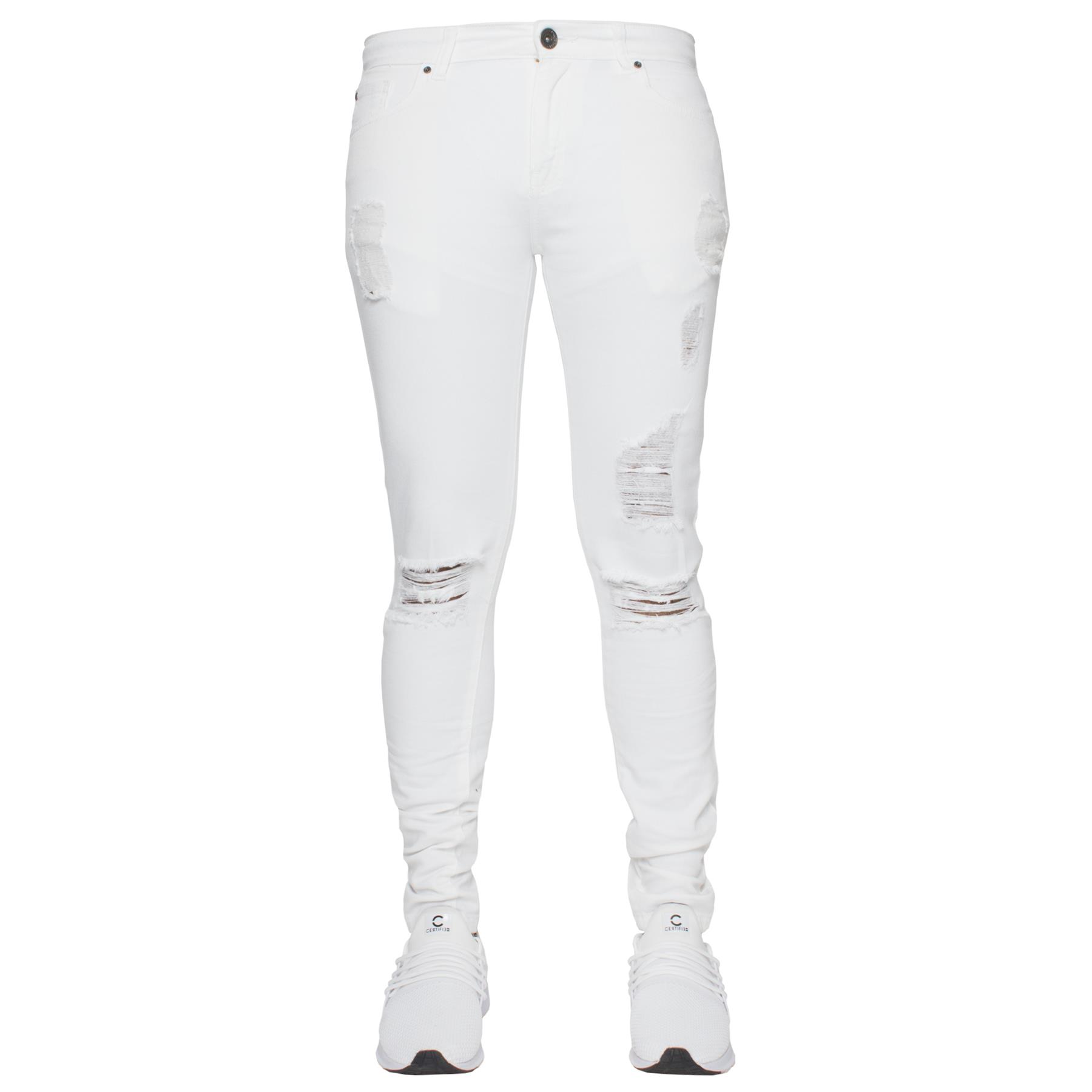Para-hombre-Super-Skinny-Ripped-Jeans-Pantalones-Ajustados-desgastados-Denim-Envejecido-Todas miniatura 27