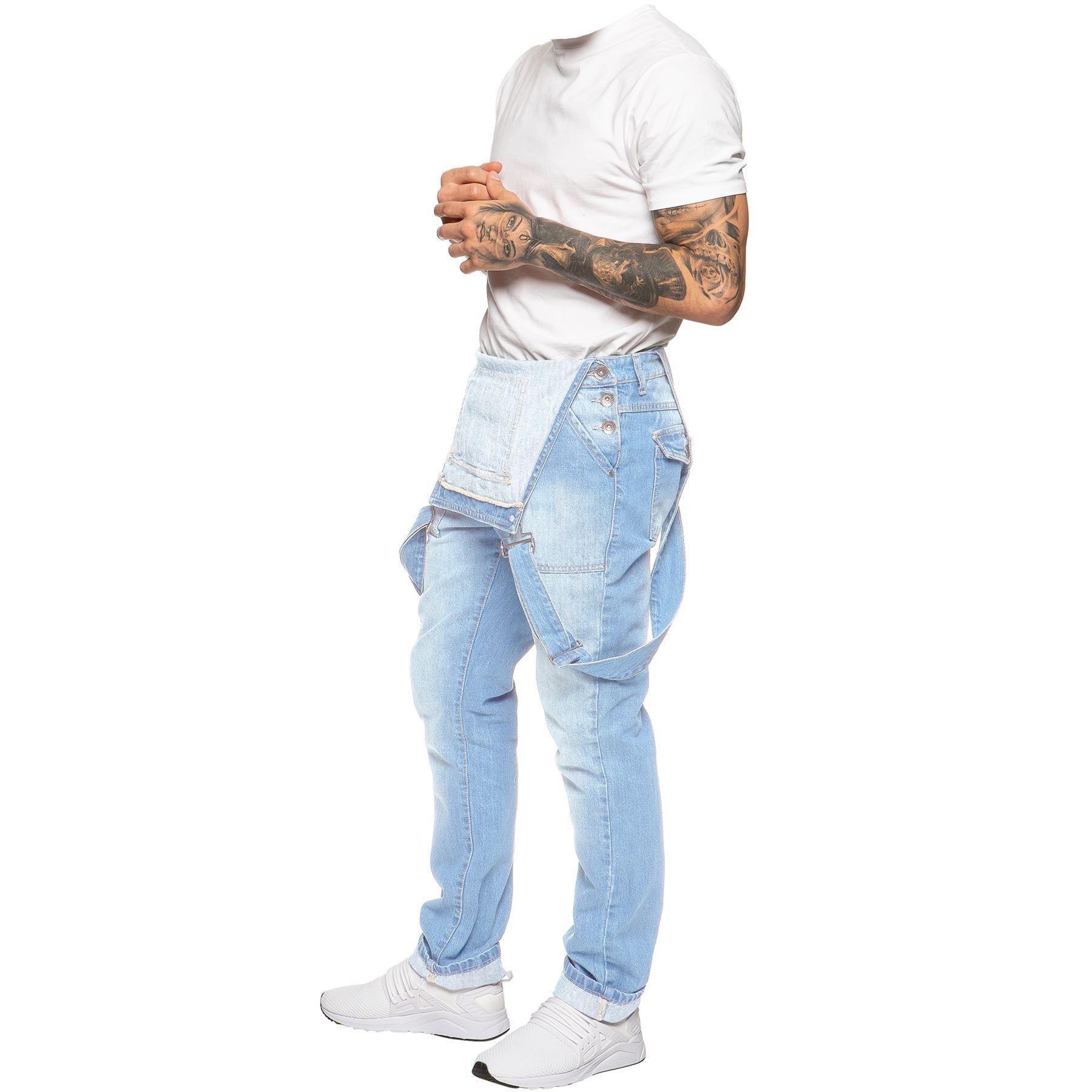 ENZO-Jeans-Hombre-Denim-Azul-Peto-Peto-overoles-Todas-Cinturas-Talla-30-034-50-034 miniatura 12