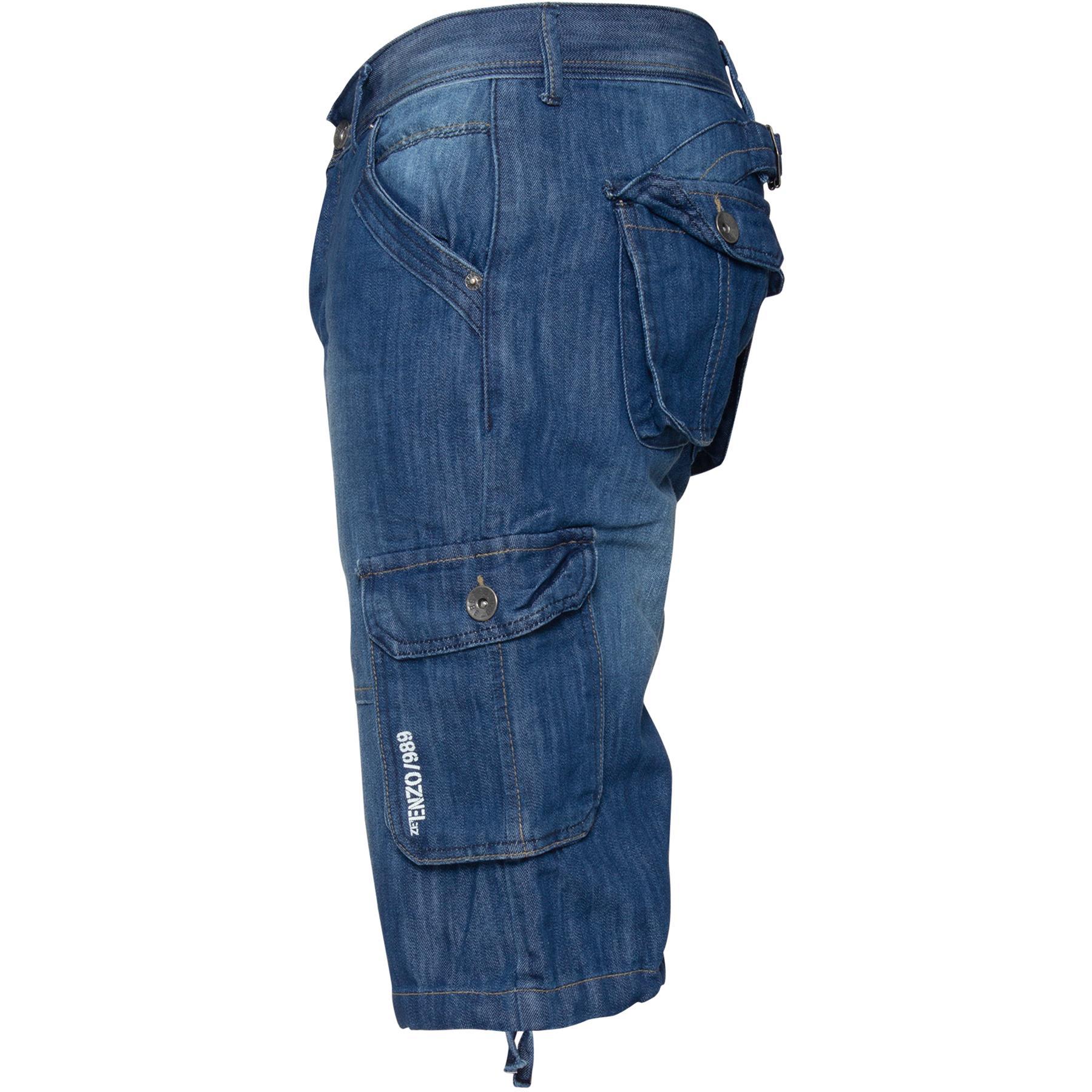ENZO-Jeans-para-hombre-de-carga-combate-informal-de-verano-Shorts-Pantalones-Cortos-de-Jeans-Todas miniatura 4