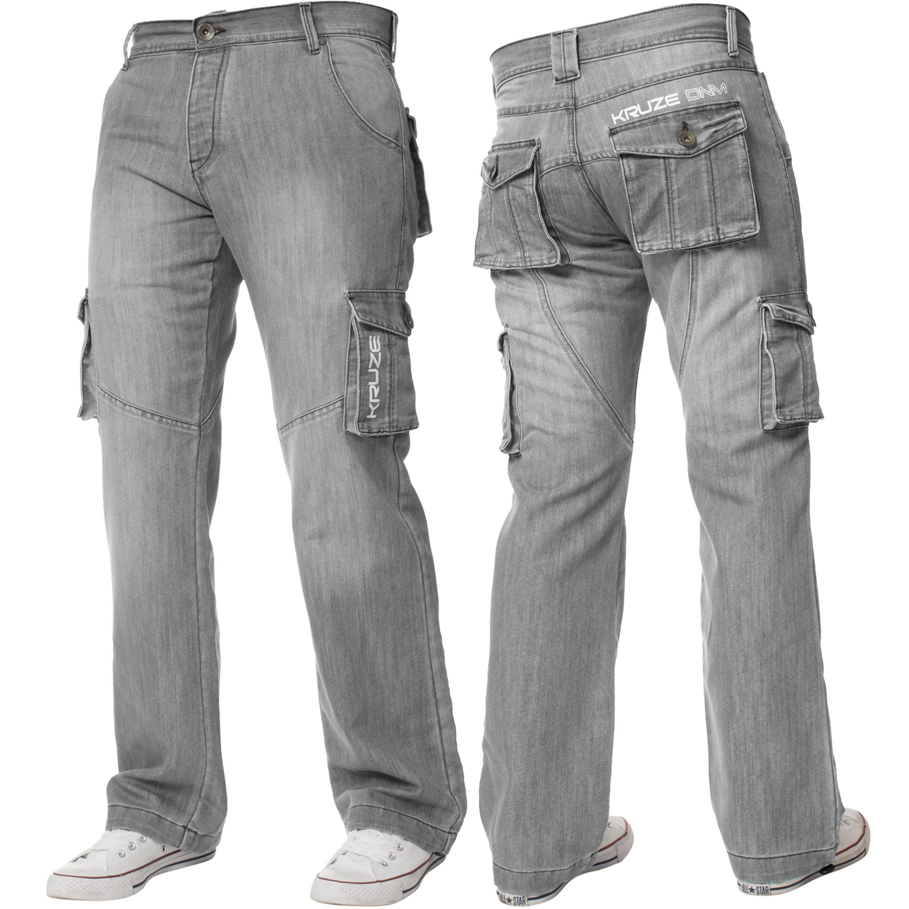 Kruze-Mens-Cargo-Combat-Jeans-Casual-Work-Denim-Pants-Big-Tall-All-Waist-Sizes thumbnail 27