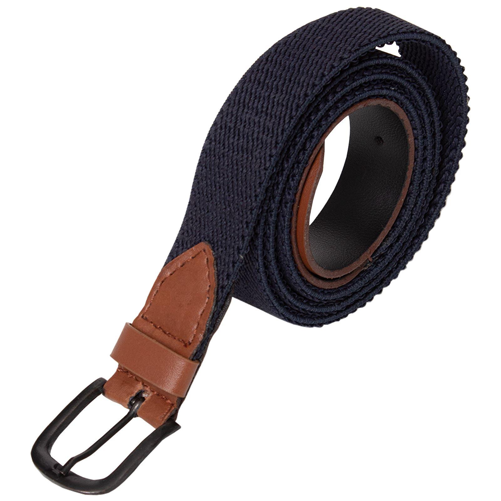 ENZO-Mens-Womens-Elasticated-Belts-Canvas-Stretch-PU-Leather-Trim-Braided-Belt Indexbild 5