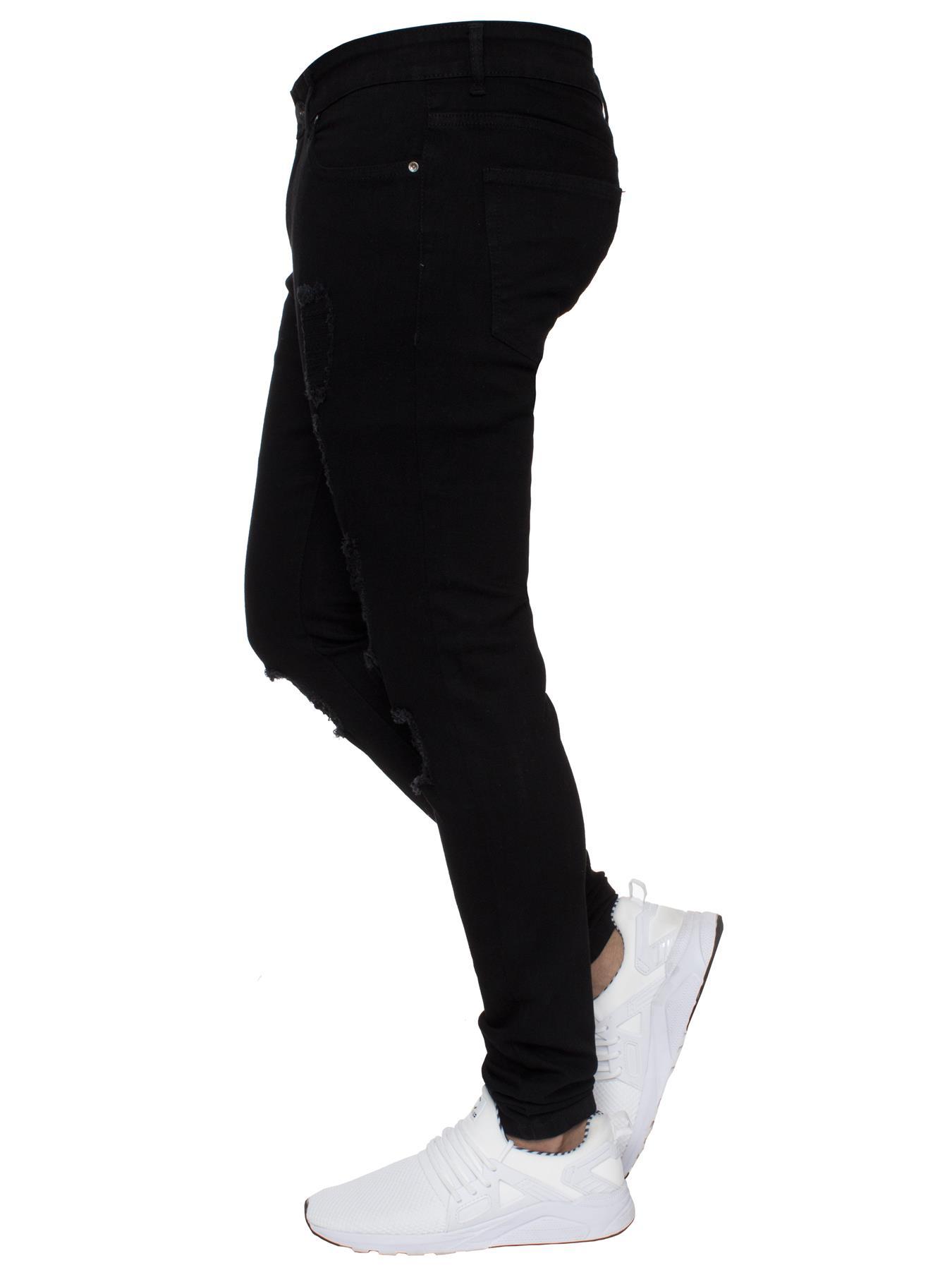 Para-hombre-Super-Skinny-Ripped-Jeans-Pantalones-Ajustados-desgastados-Denim-Envejecido-Todas miniatura 17