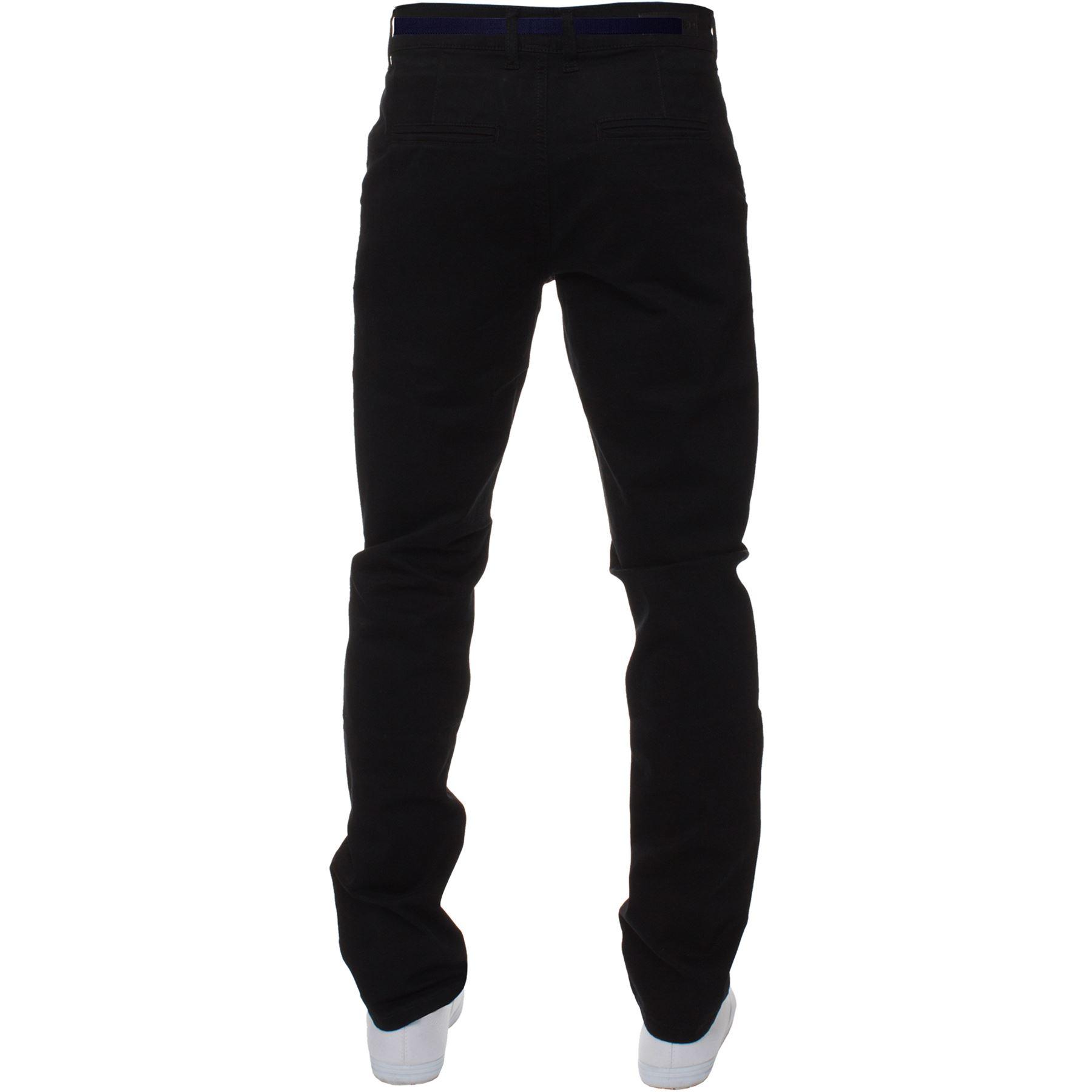 ENZO-Para-Hombres-Pantalones-Slim-Fit-Algodon-Elastico-Pantalones-Chinos-Con-Cinturon-BIG-amp-TALL miniatura 5