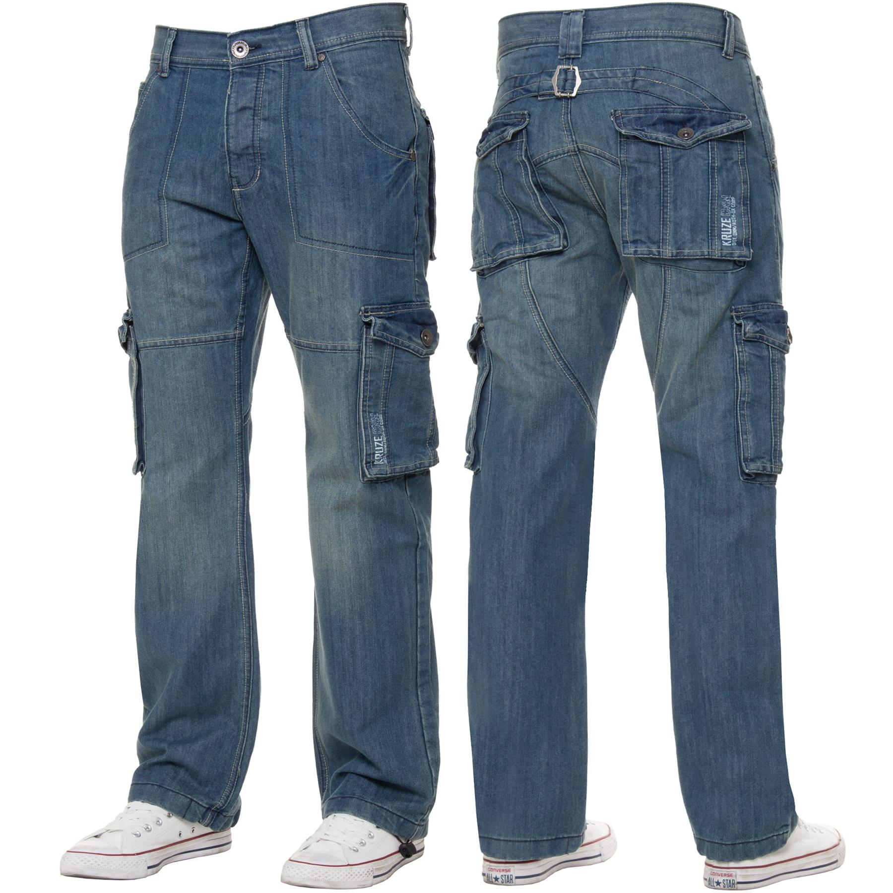 Kruze-Mens-Cargo-Combat-Jeans-Casual-Work-Denim-Pants-Big-Tall-All-Waist-Sizes thumbnail 3