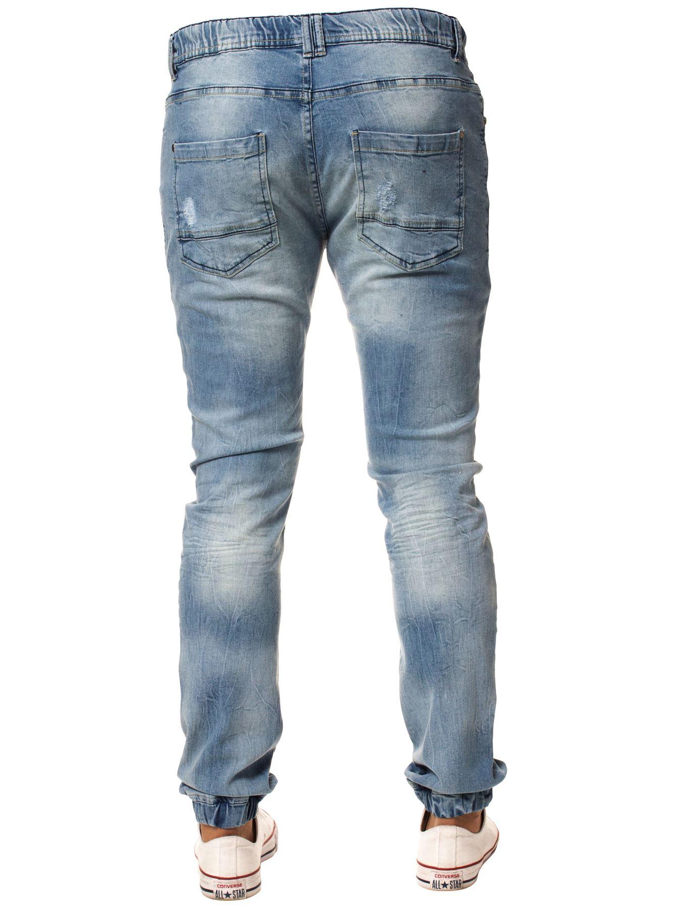 Enzo-Mens-Cuffed-Jeans-Stretch-Fit-Ripped-Denim-Jogger-Pants-Big-Tall-All-Waists thumbnail 13