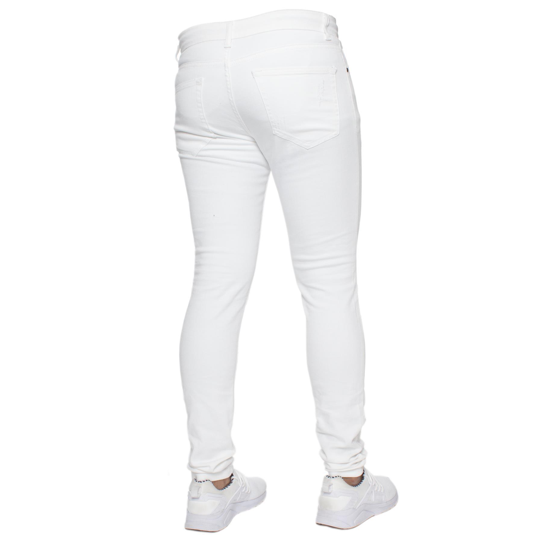 Para-hombre-Super-Skinny-Ripped-Jeans-Pantalones-Ajustados-desgastados-Denim-Envejecido-Todas miniatura 24
