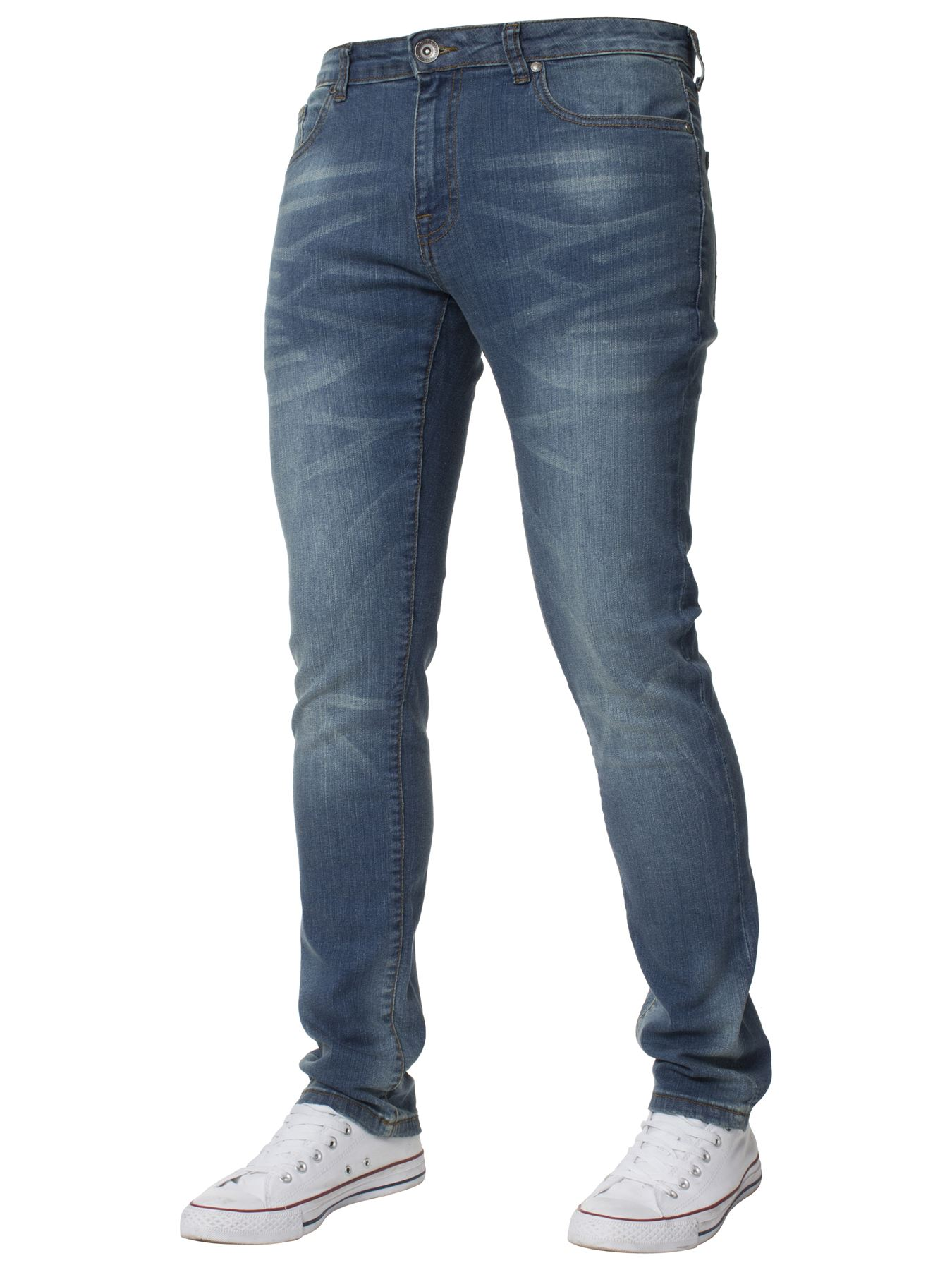 Mens-Skinny-Stretch-Jeans-Slim-Fit-Flex-Denim-Trousers-Pants-King-Sizes-by-Kruze thumbnail 21