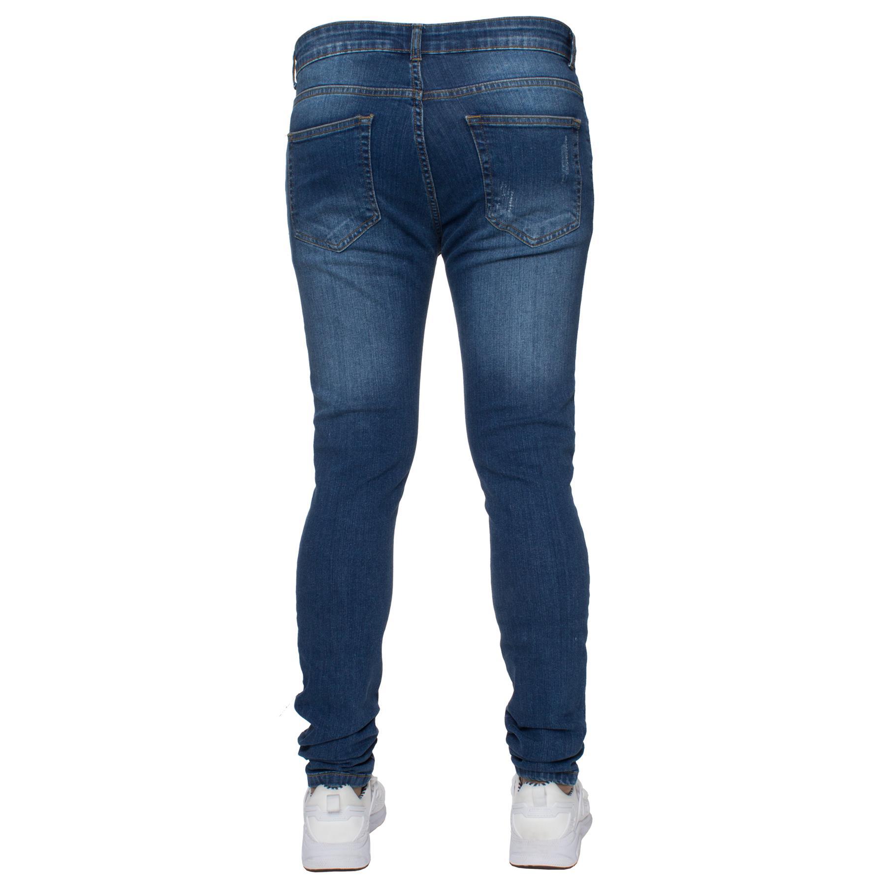 Para-hombre-Super-Skinny-Ripped-Jeans-Pantalones-Ajustados-desgastados-Denim-Envejecido-Todas miniatura 6