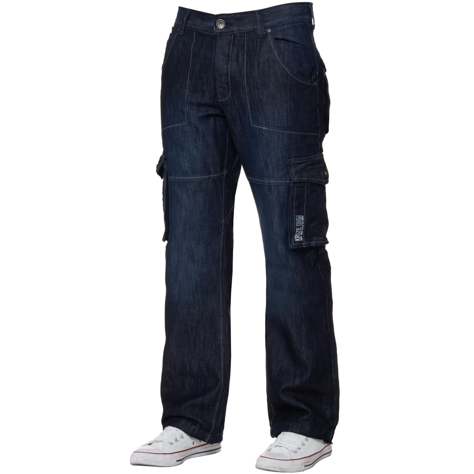 Kruze-Mens-Cargo-Combat-Jeans-Casual-Work-Denim-Pants-Big-Tall-All-Waist-Sizes thumbnail 16