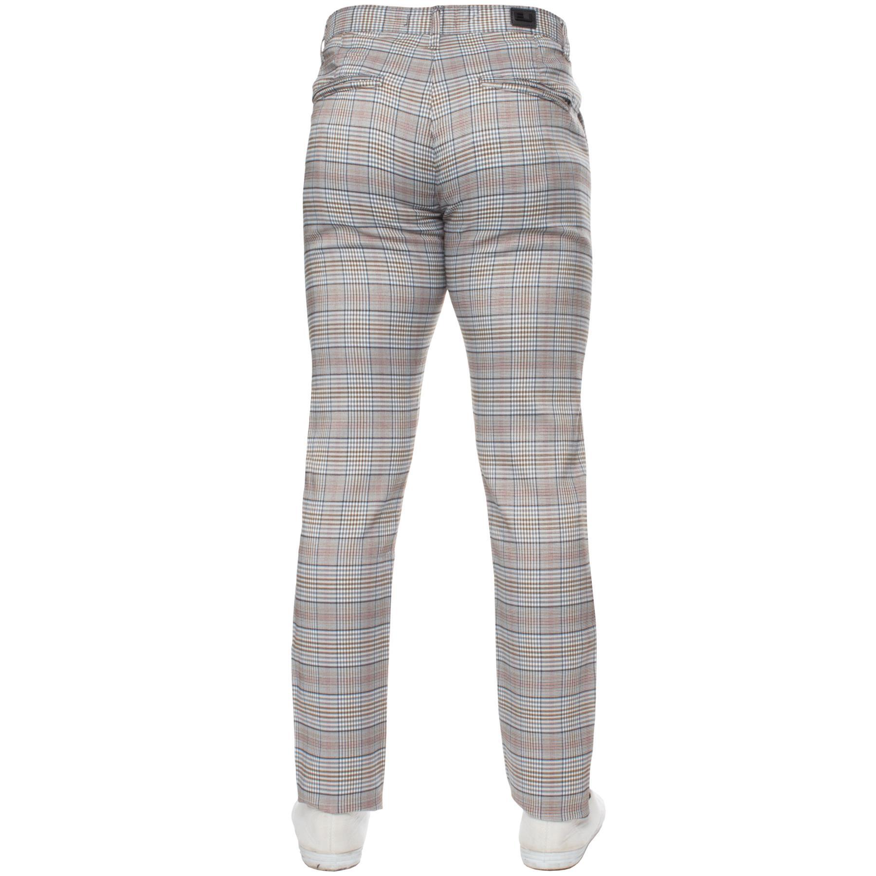 Para-Hombre-a-Cuadros-Pantalones-Slim-Fit-Smart-Casual-Elastico-Suave-Oficina-de-Trabajo-Pantalones miniatura 6