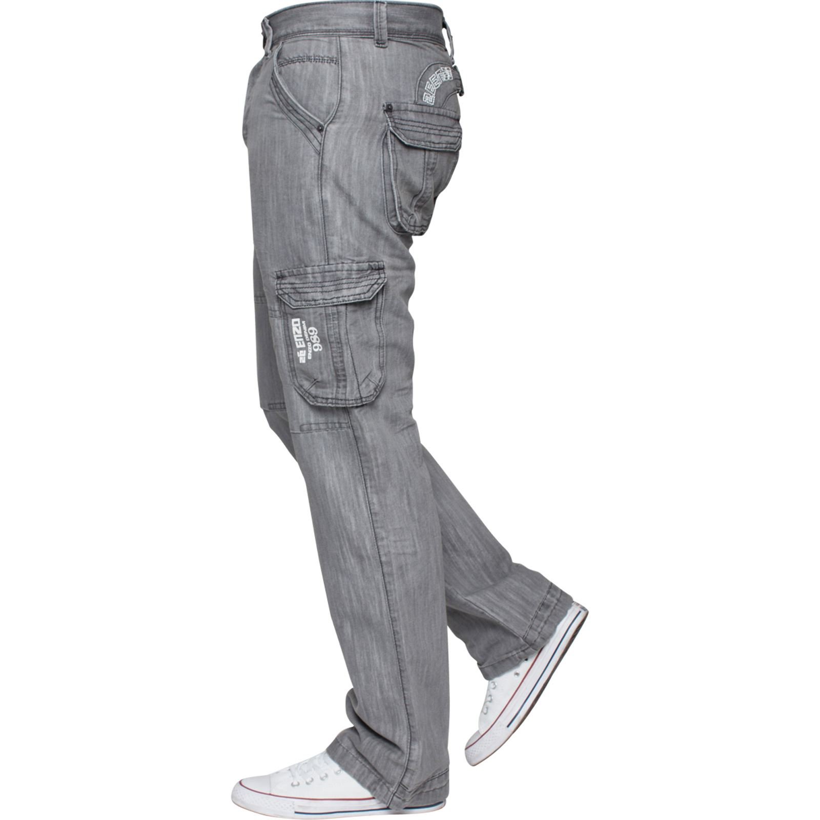 Enzo-Mens-Cargo-Combat-Trousers-Jeans-Work-Casual-Denim-Pants-Big-Tall-All-Waist thumbnail 25